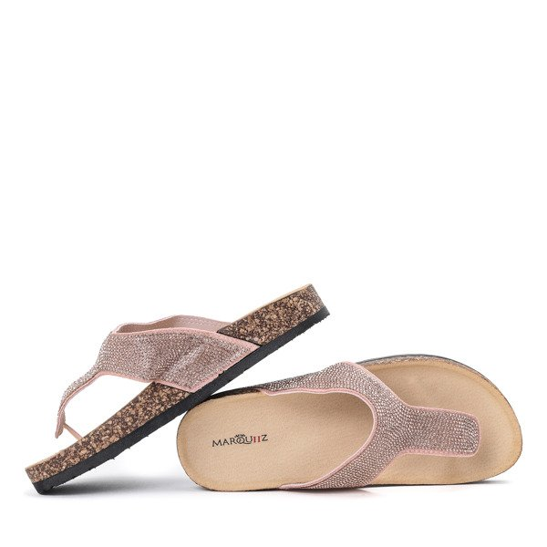 Rose Gold Diamante Arizona Sandals