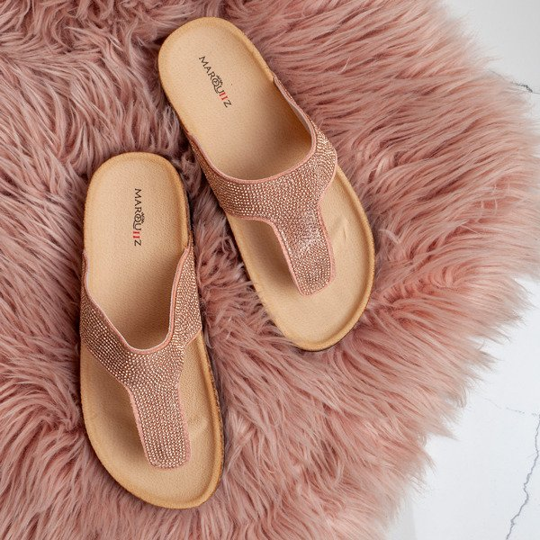 Rose Gold Diamante Arizona Sandals