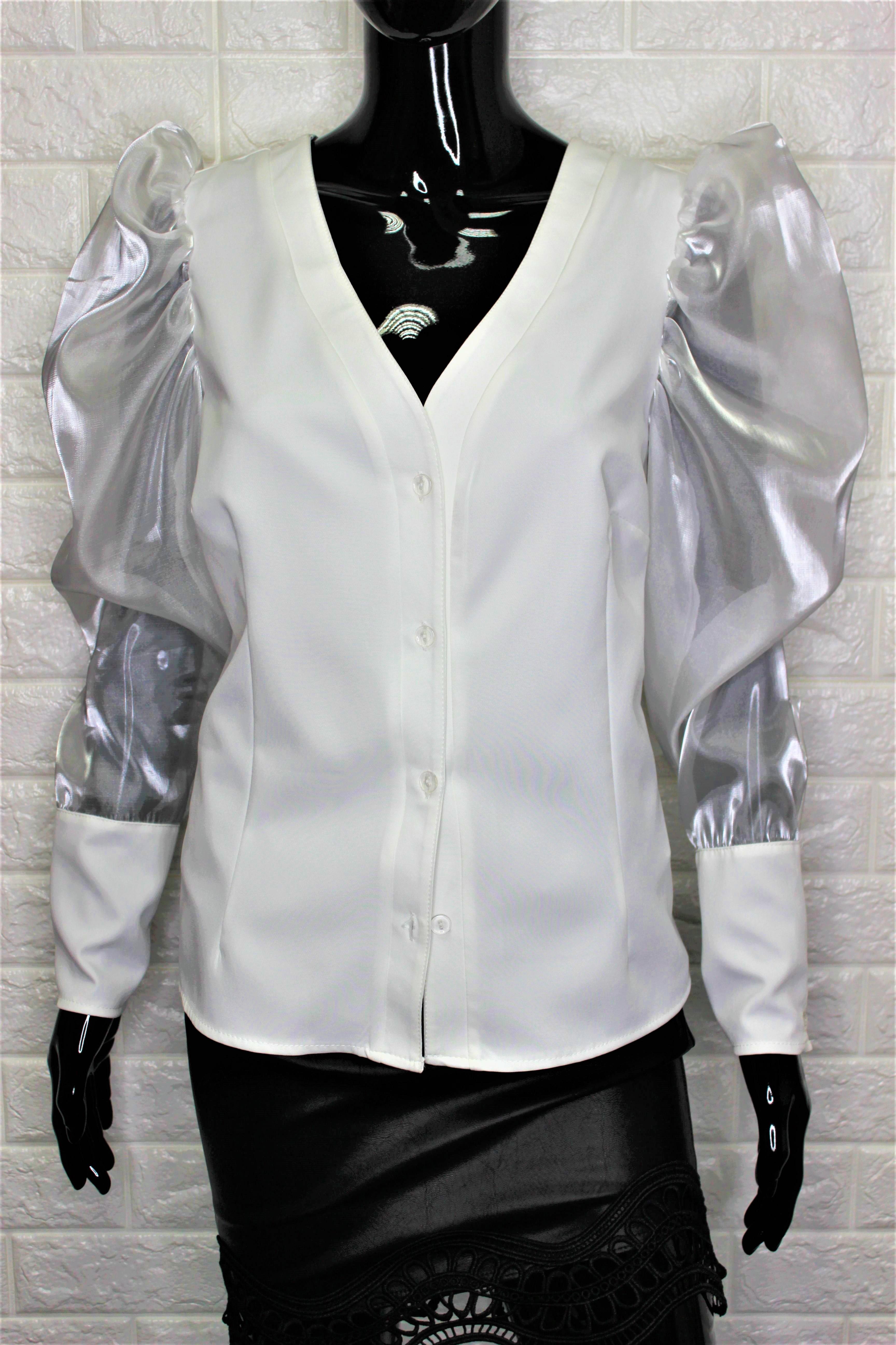 White Mesh Sheer Puff Sleeve Shirt