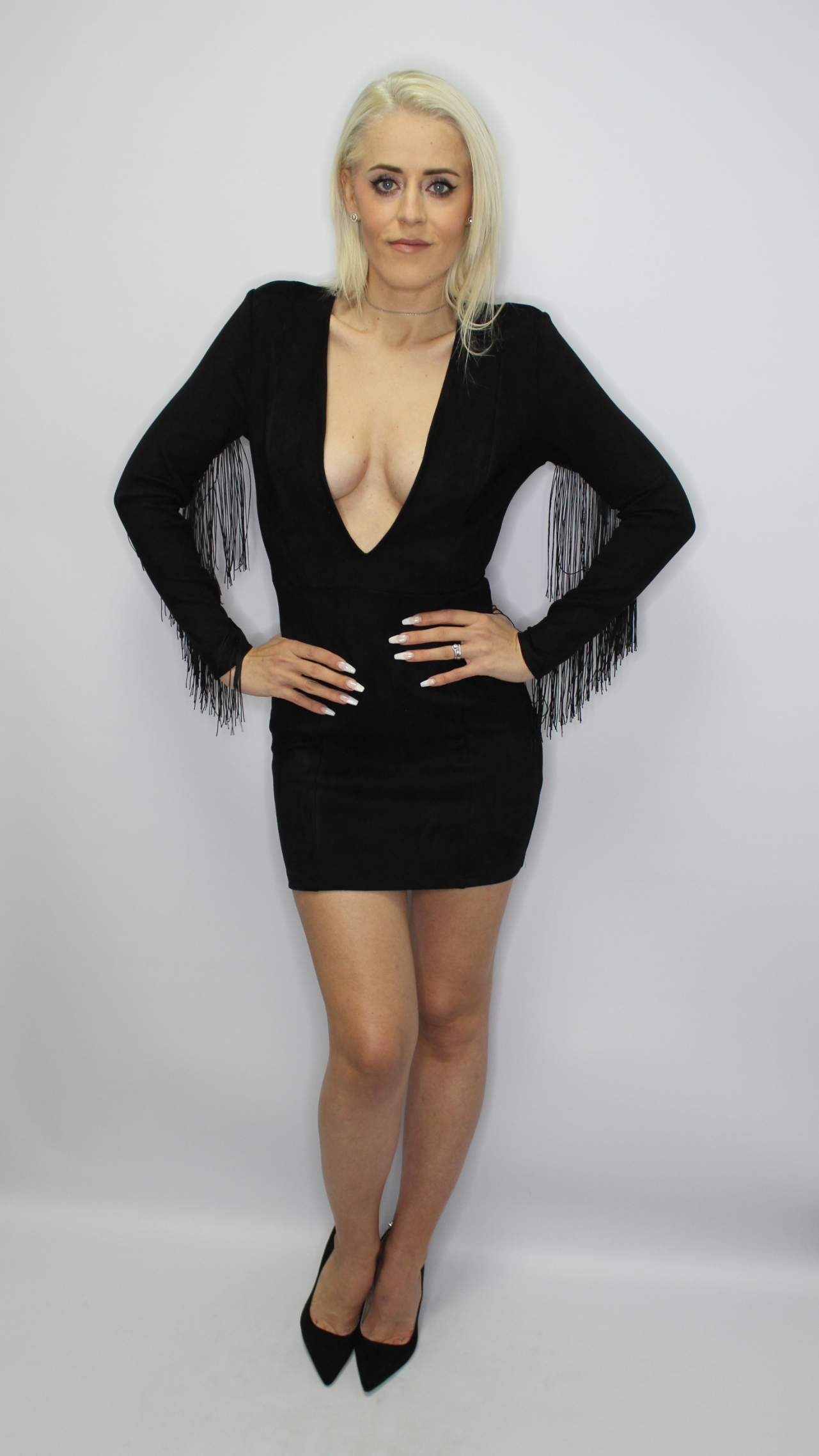 Black Faux Suede Fringed Mini Dress