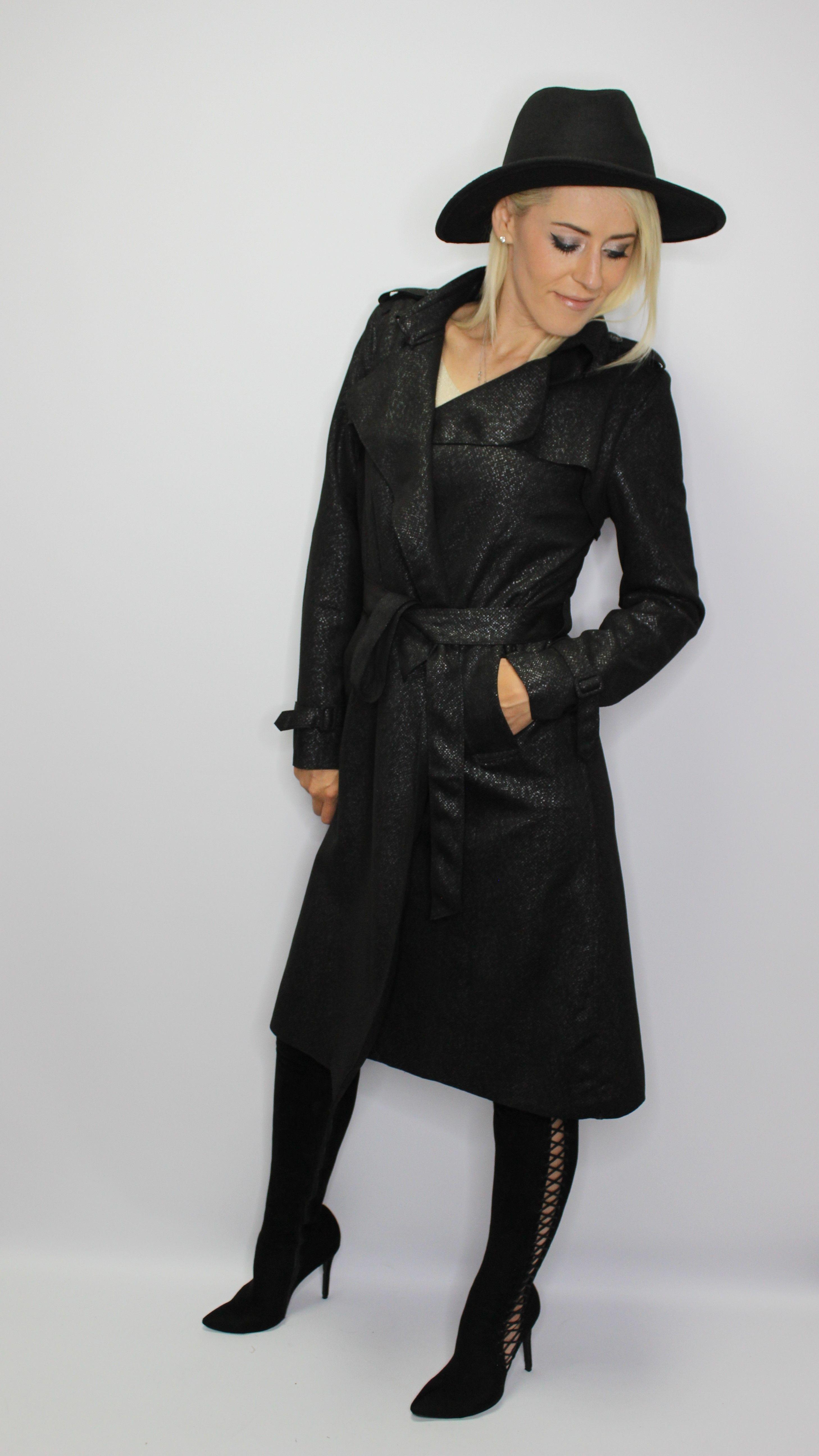 Black Snake Print  Midi Coat