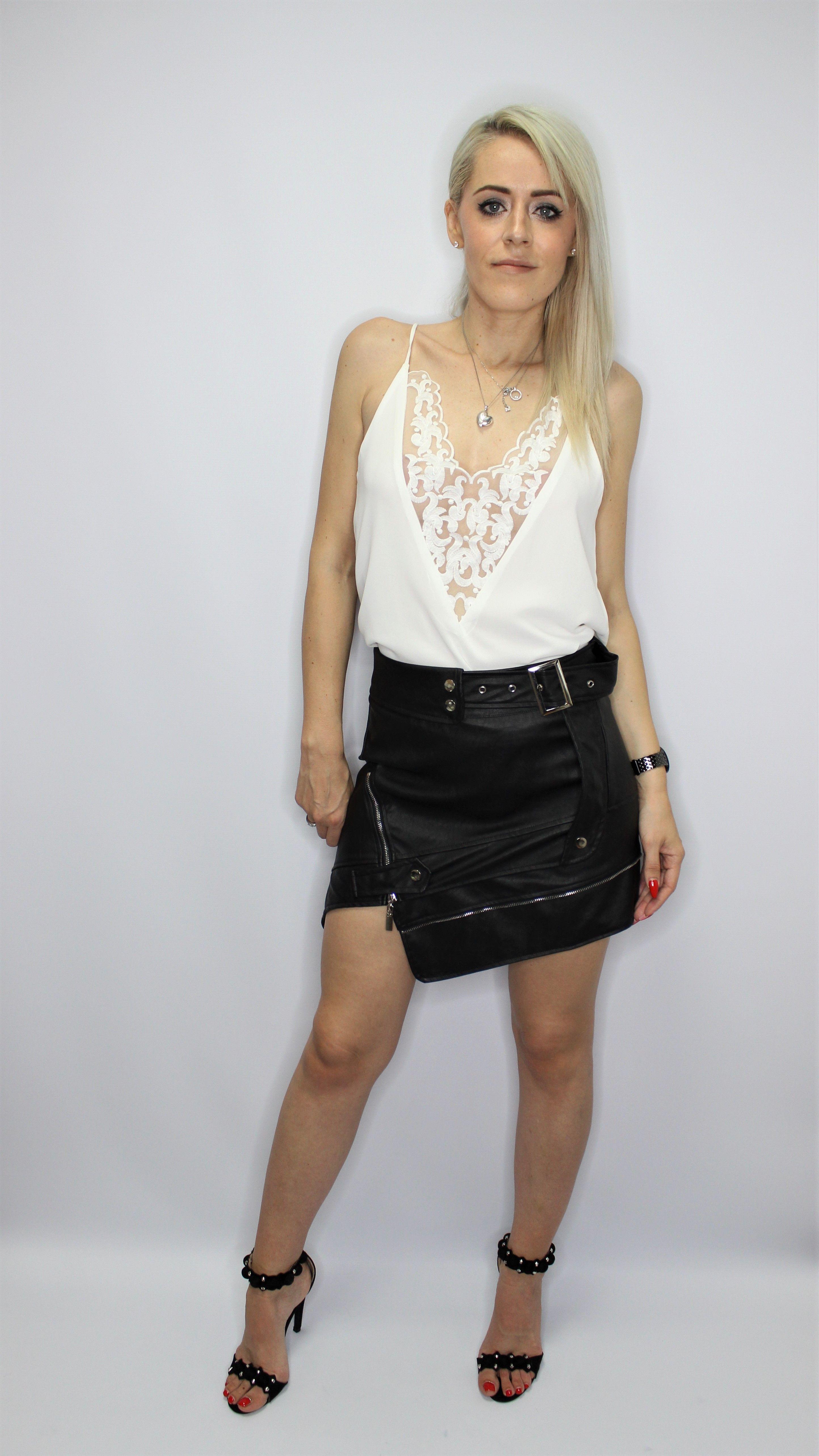Black Leather Look Biker Mini Skirt