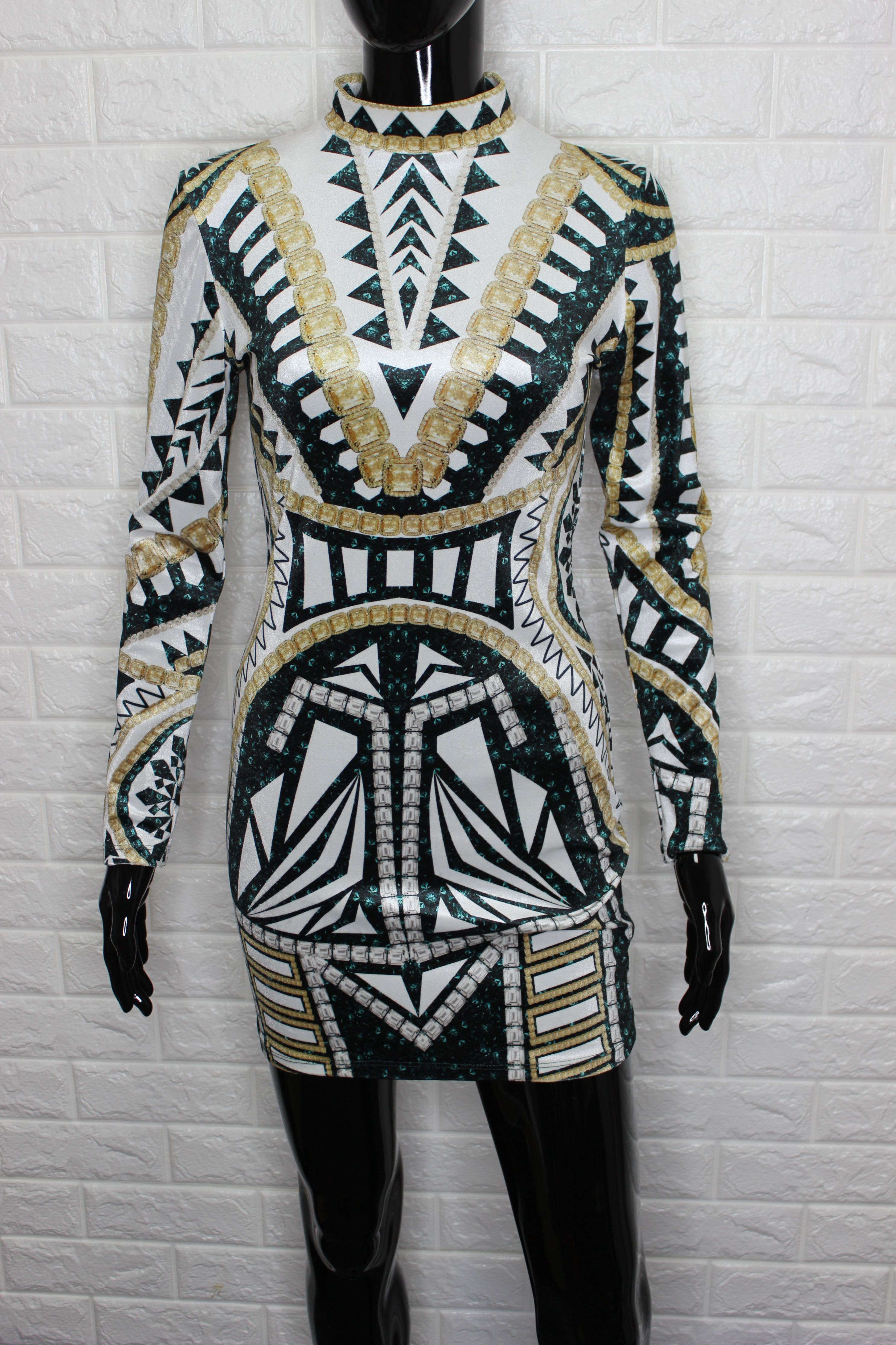 High Neck Velour Mini Dress