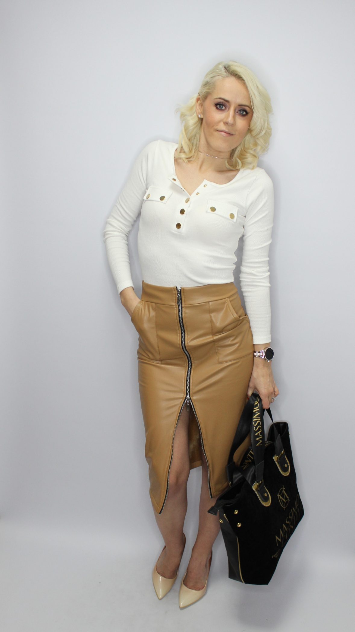 Tan Faux Leather Pencil Skirt