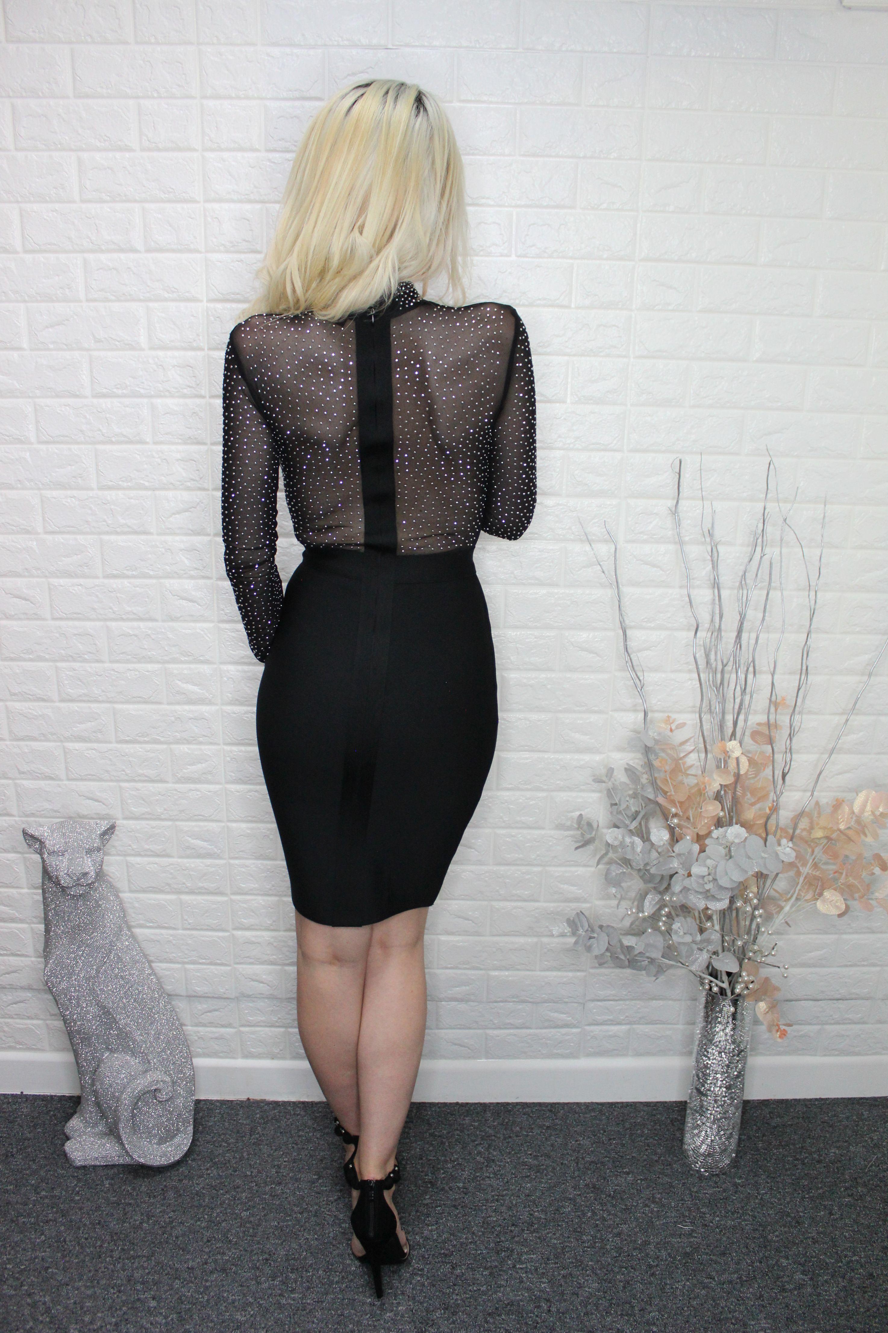 Black Diamante Bandage Dress