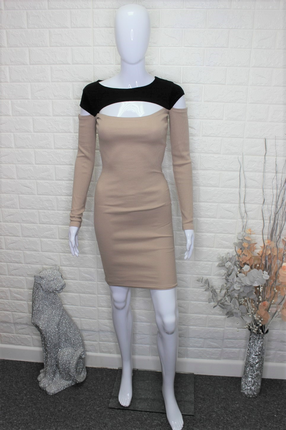 Caramel & Black Casual Dress
