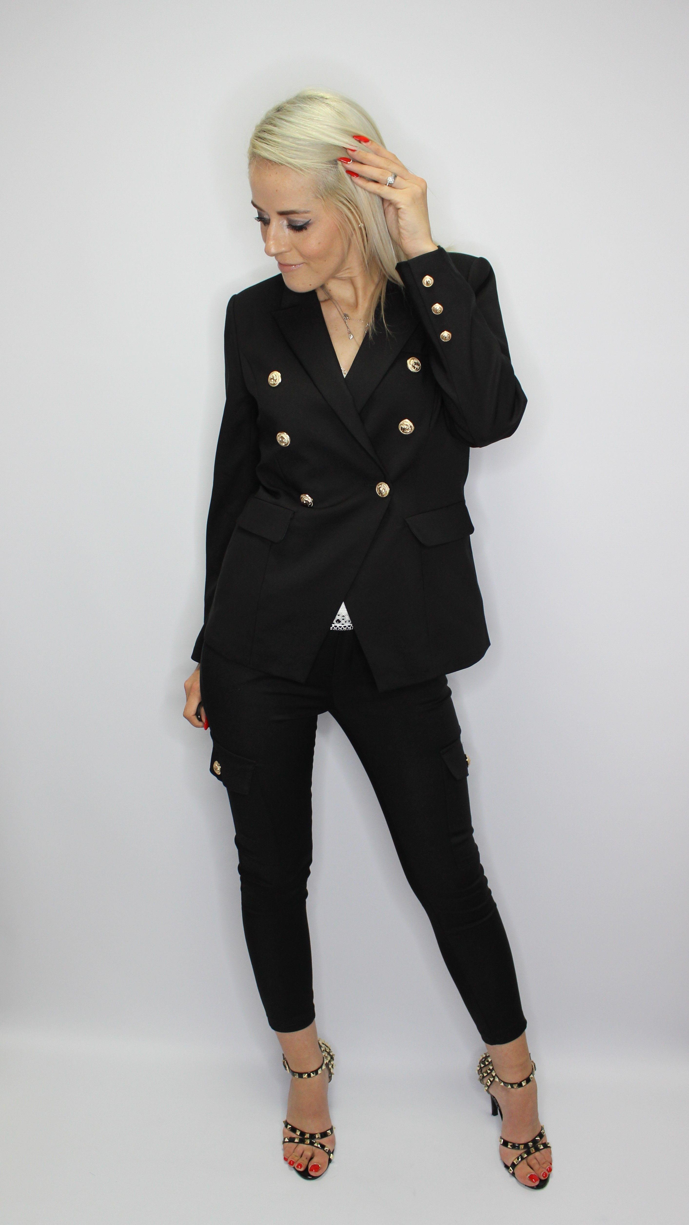 Black Balmain Style Blazer