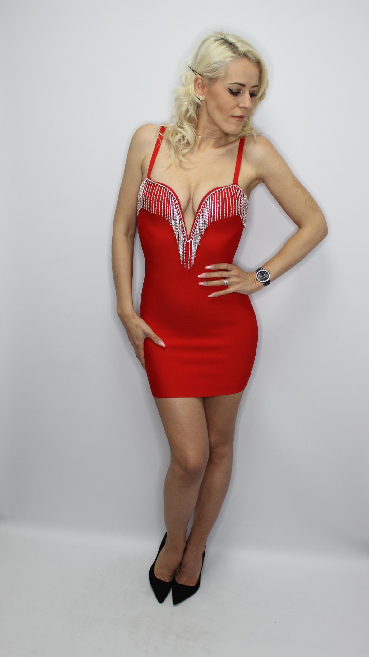 Luxury Diamante Red Bandage Mini Dress