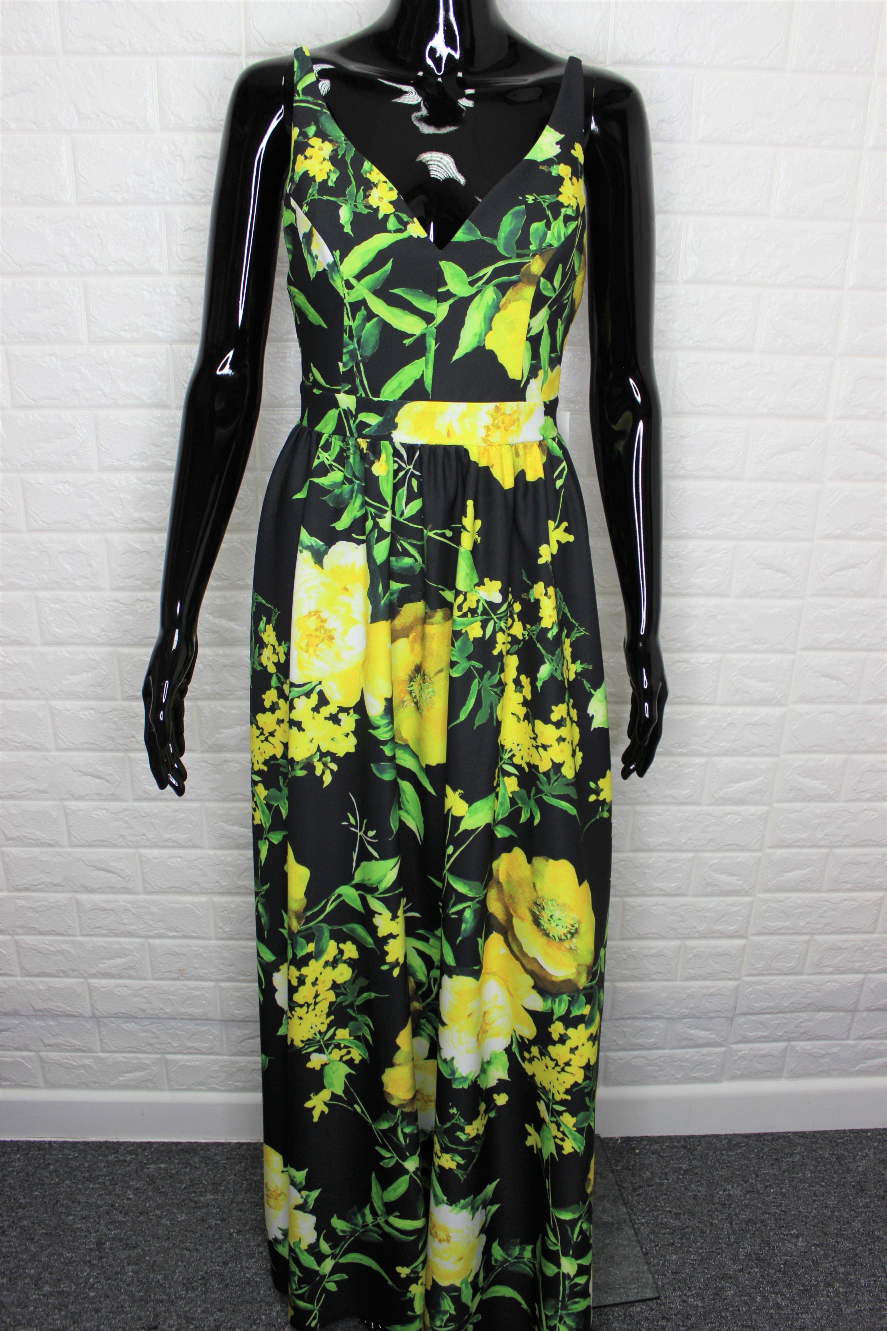 Black Floral Print  Evening Dress