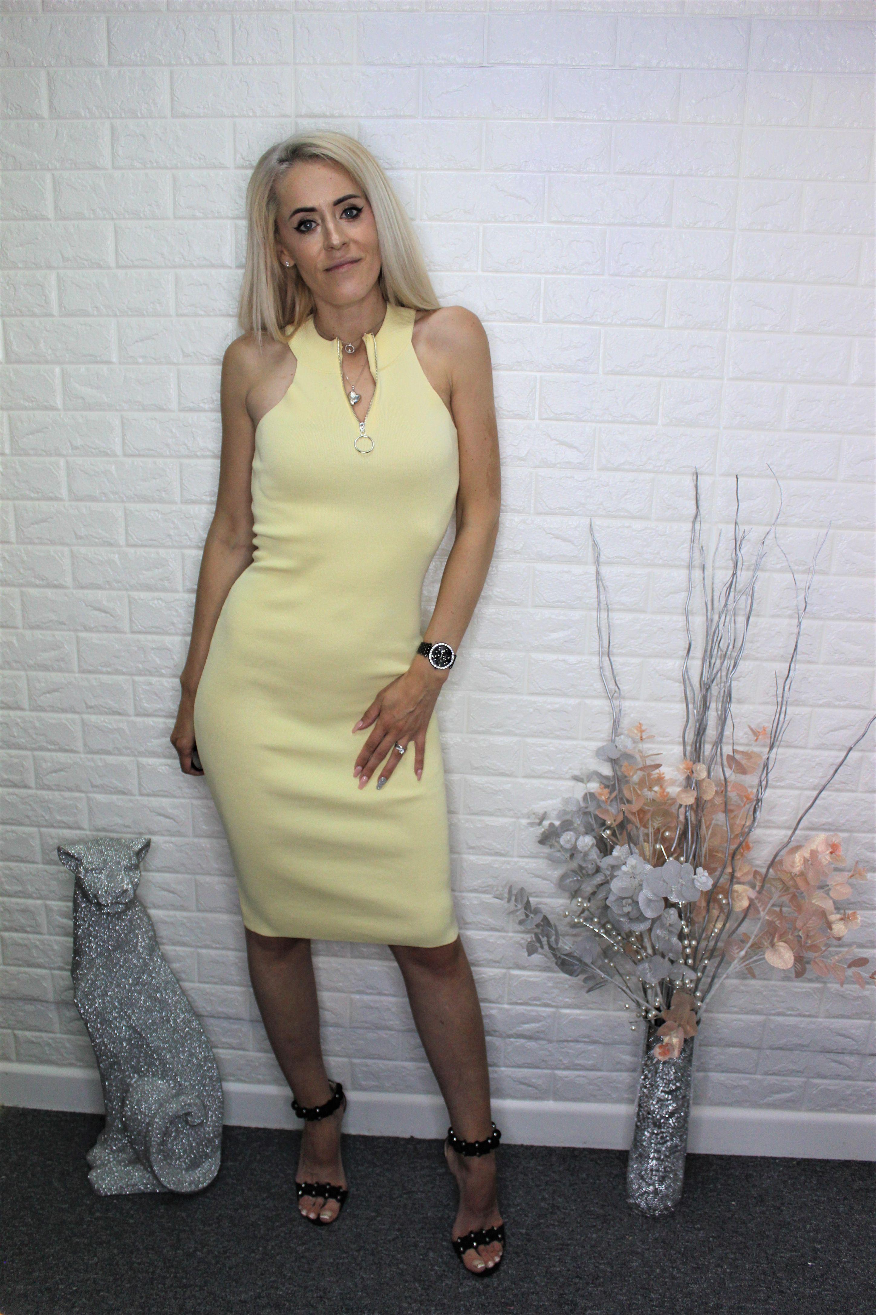 Yellow Casual Pencil Dress