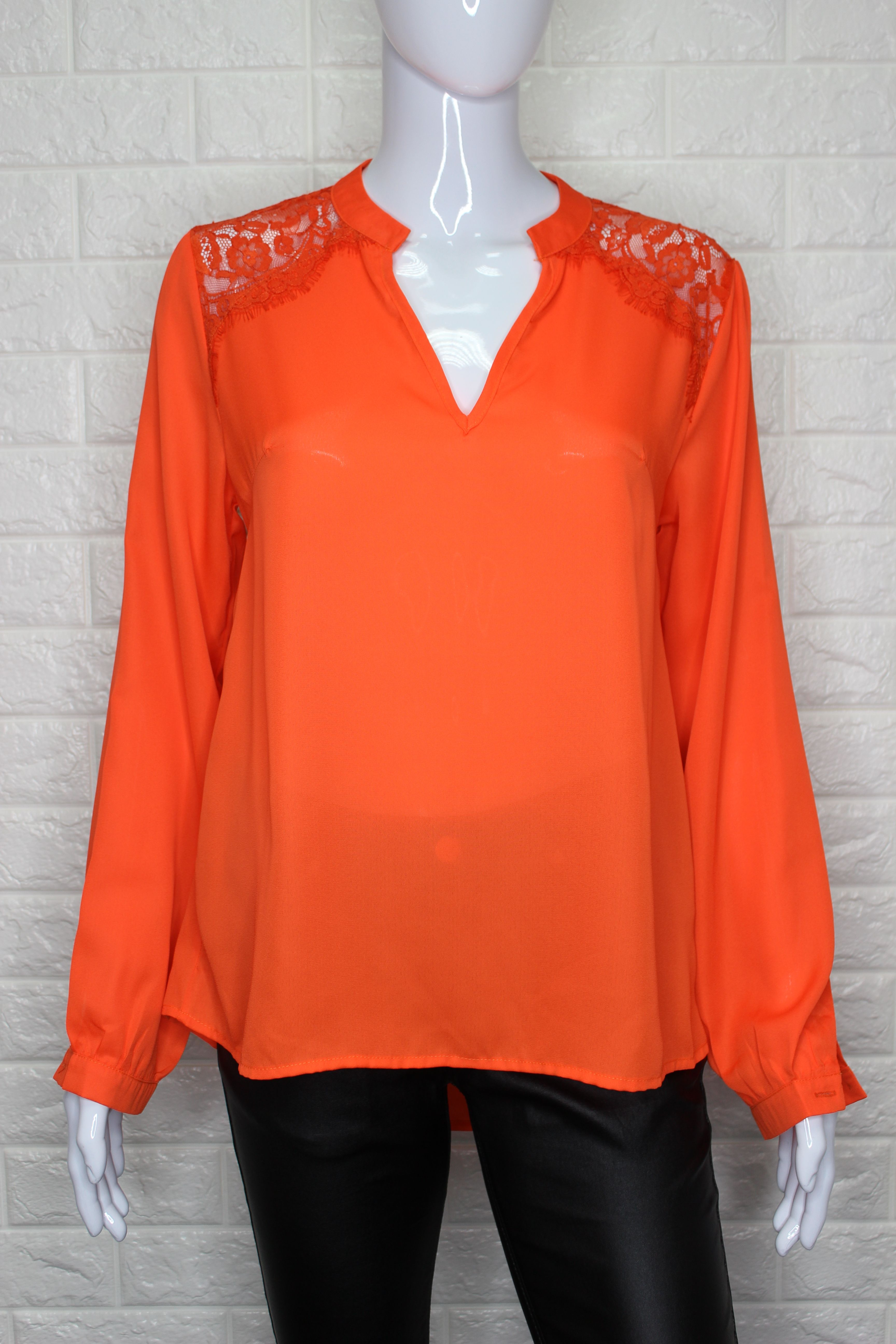 Neon Orange Blouse With Open Back