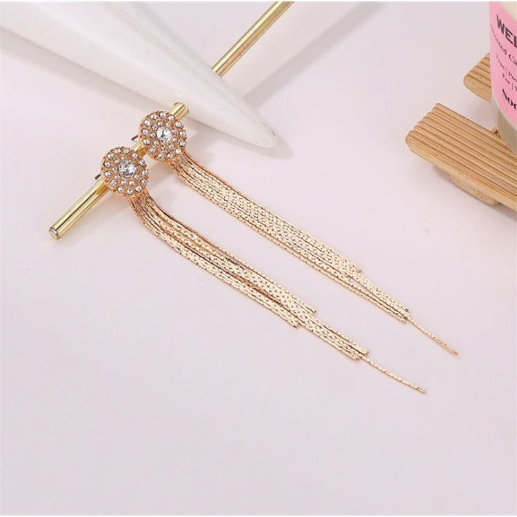 Long Gold Tone Chain Earrings