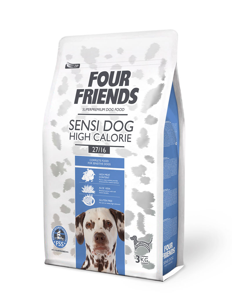 FOUR FRIENDS Sensi Dog High Calorie Anka & Kalkon 3 kg.