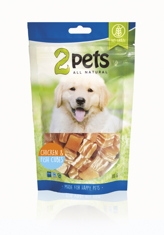 2pets Chicken&Fish Cubes 100g