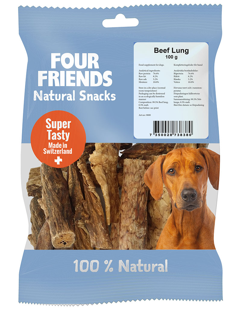FOUR FRIENDS Natural Snacks Beef Lung 100 g.
