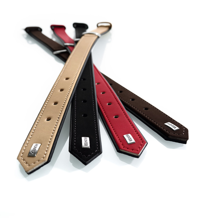Kampanjvara! HUNTER Halsband Konstläder Beige/svart 45cm.