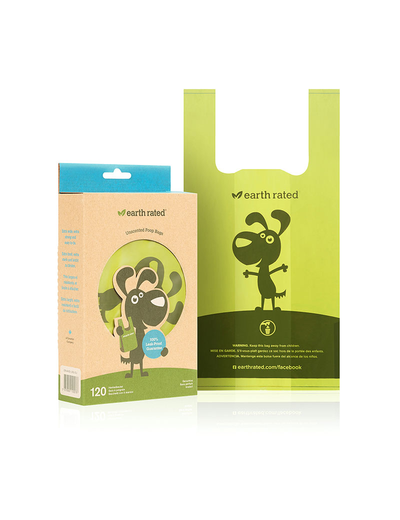 Earth Rated Eco-friendly bajspåse med handtag 120pack