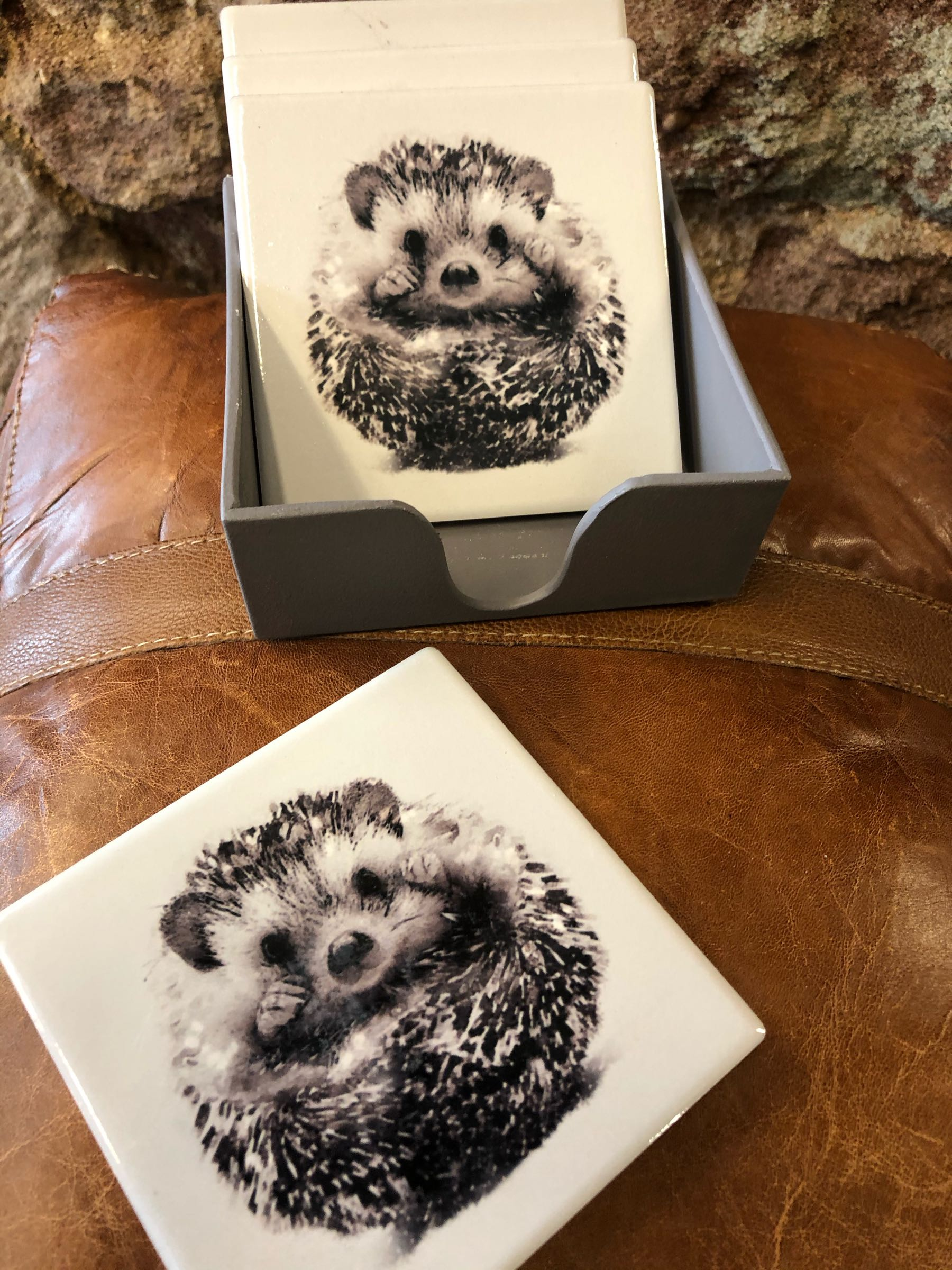 Hedgehog Set of Ceramic Coasters