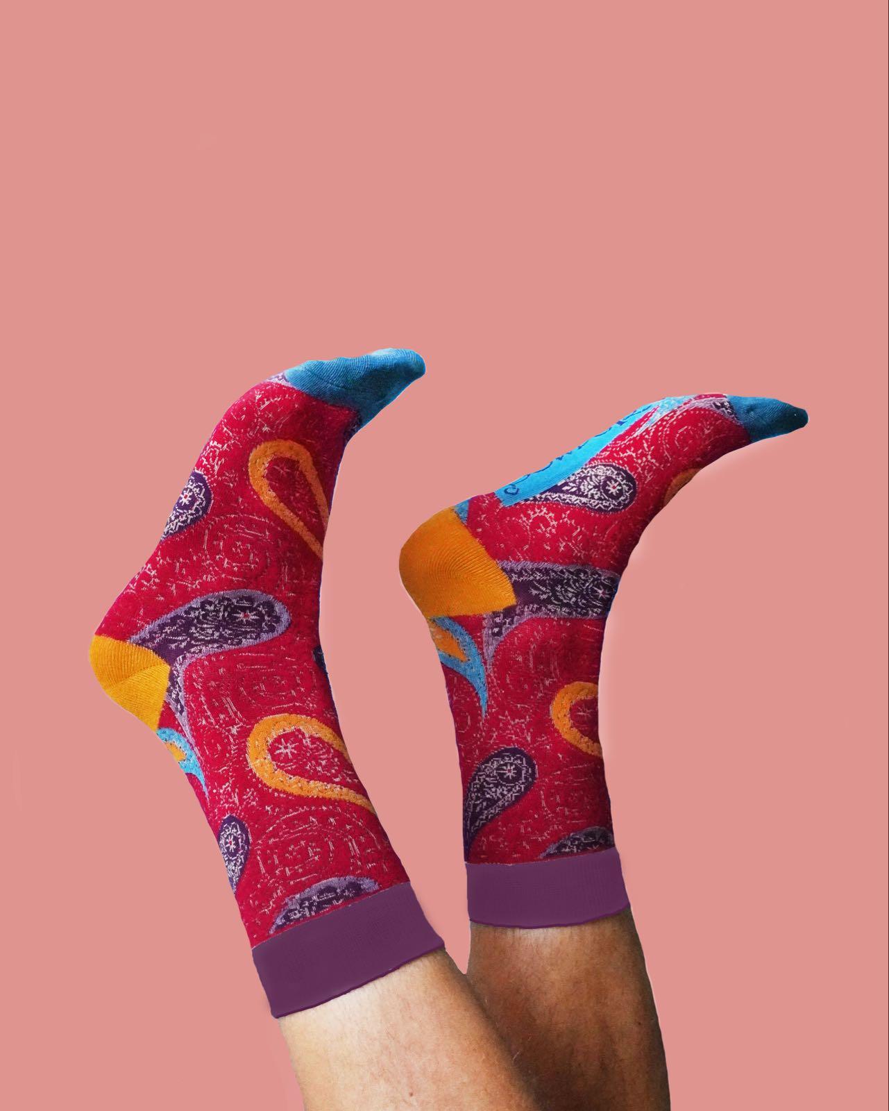 Powder Gentleman's fushia paisley  socks size 9-11