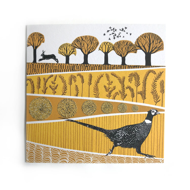 Folded Forest Greeting Card - Pheasant