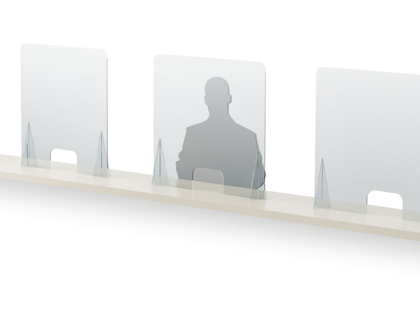 Acrylic sneeze guard 600mm H counter / table top