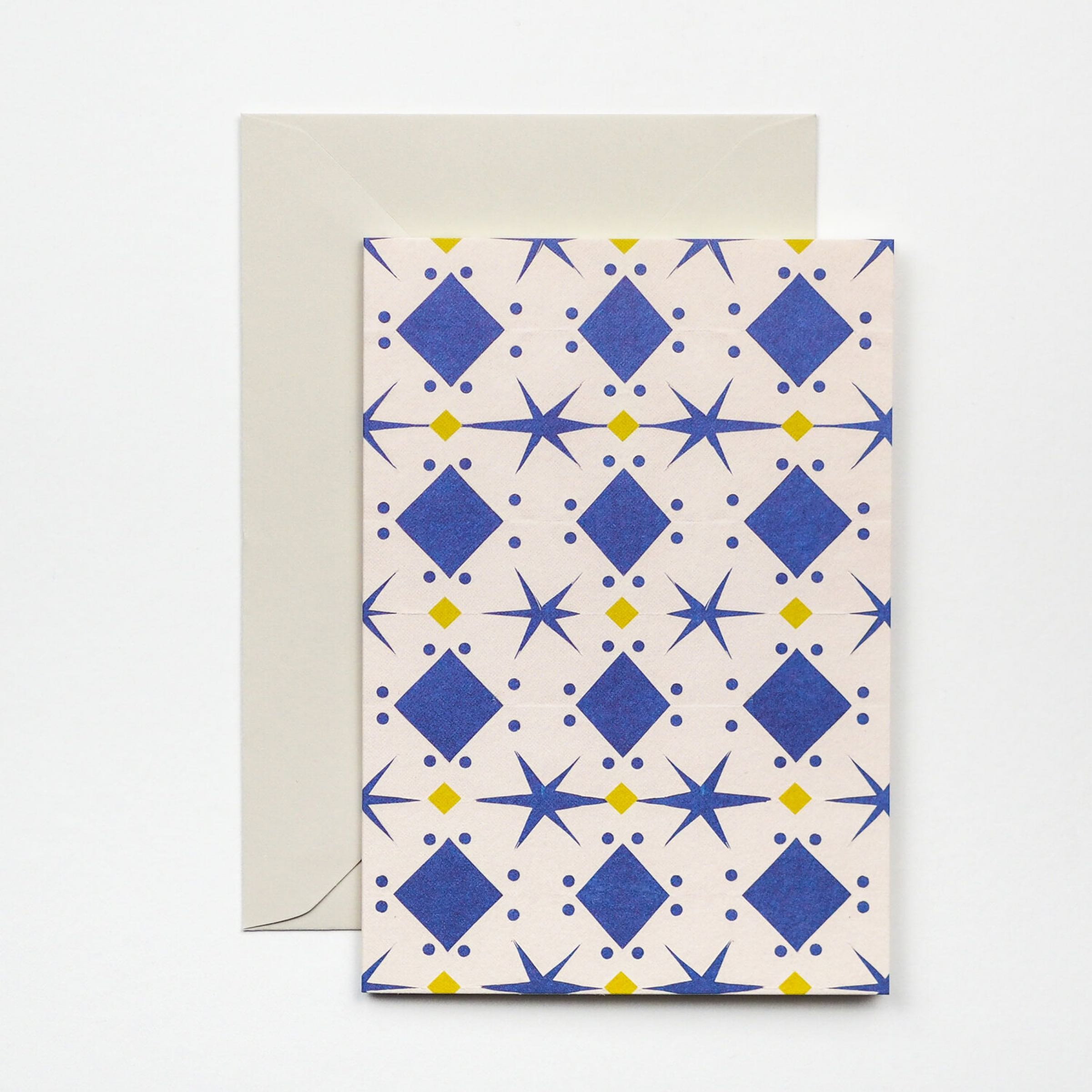 Blue Papercut pattern card by Hadley Paper Goods