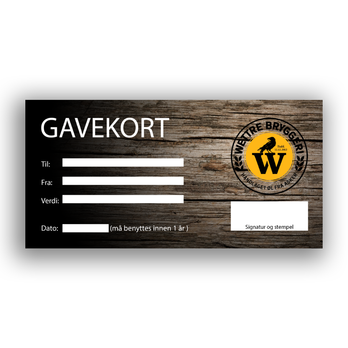 Gavekort fra Wettre Bryggeri