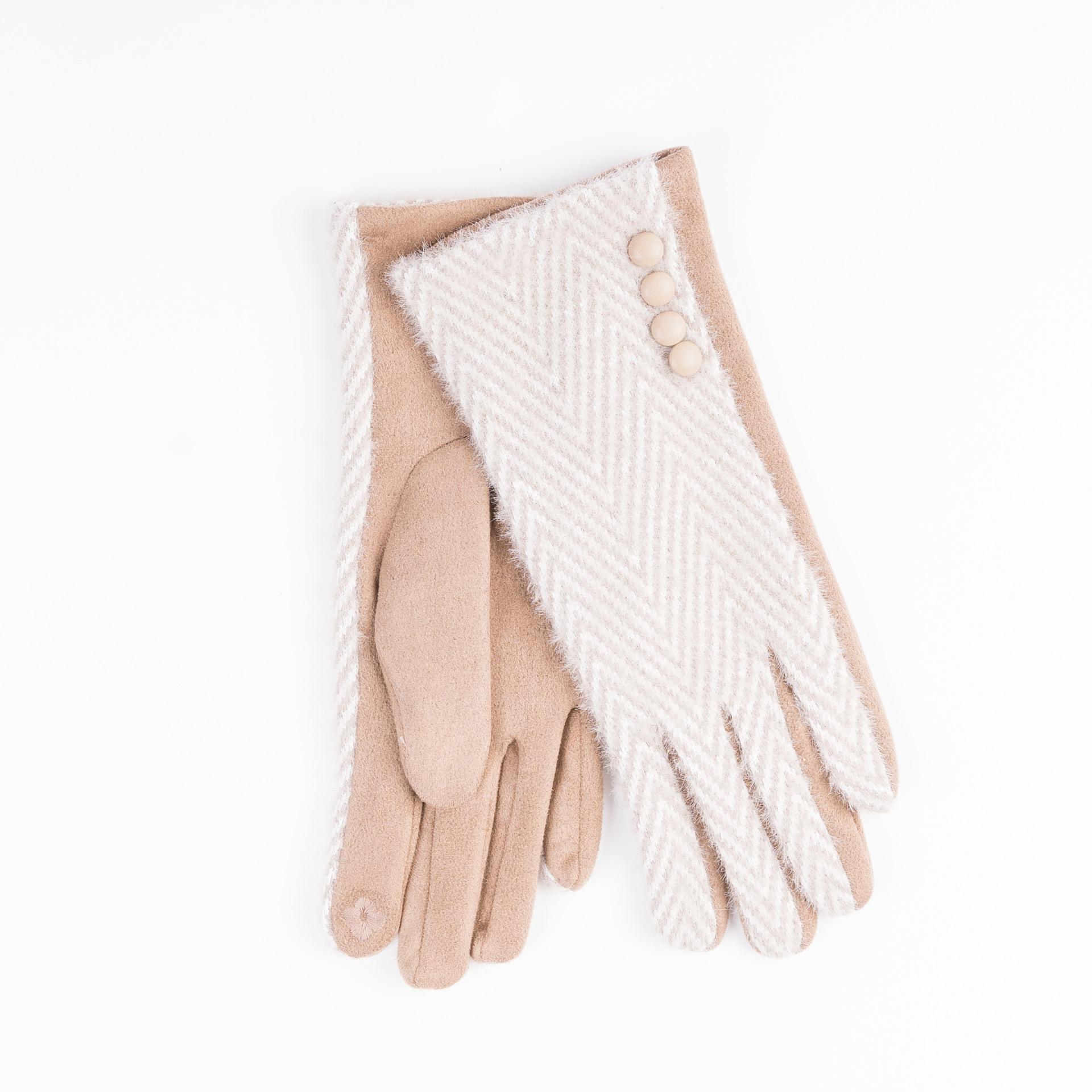 Heritage Super Soft Herringbone Button Glove - Rose