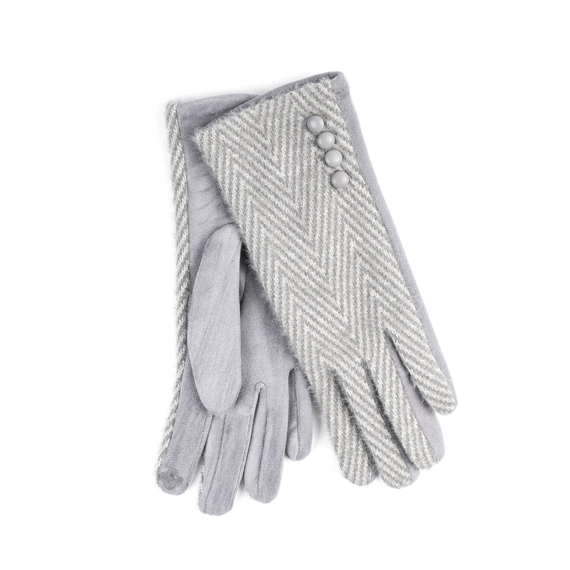 Heritage Super Soft Herringbone Button Glove - Silver