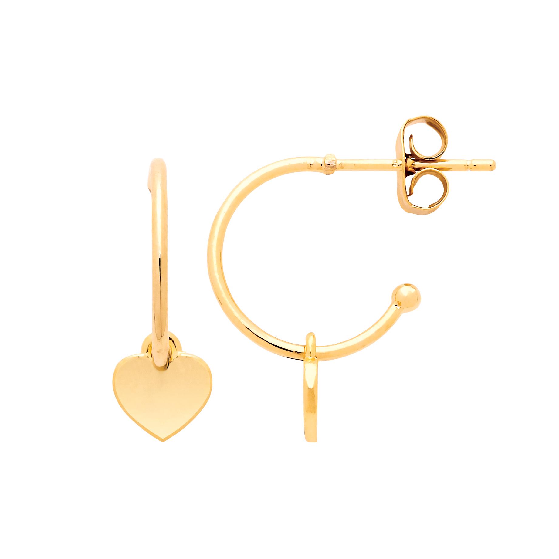 Estella Bartlett - Heart Drop Hoop Earrings Gold Plated Np