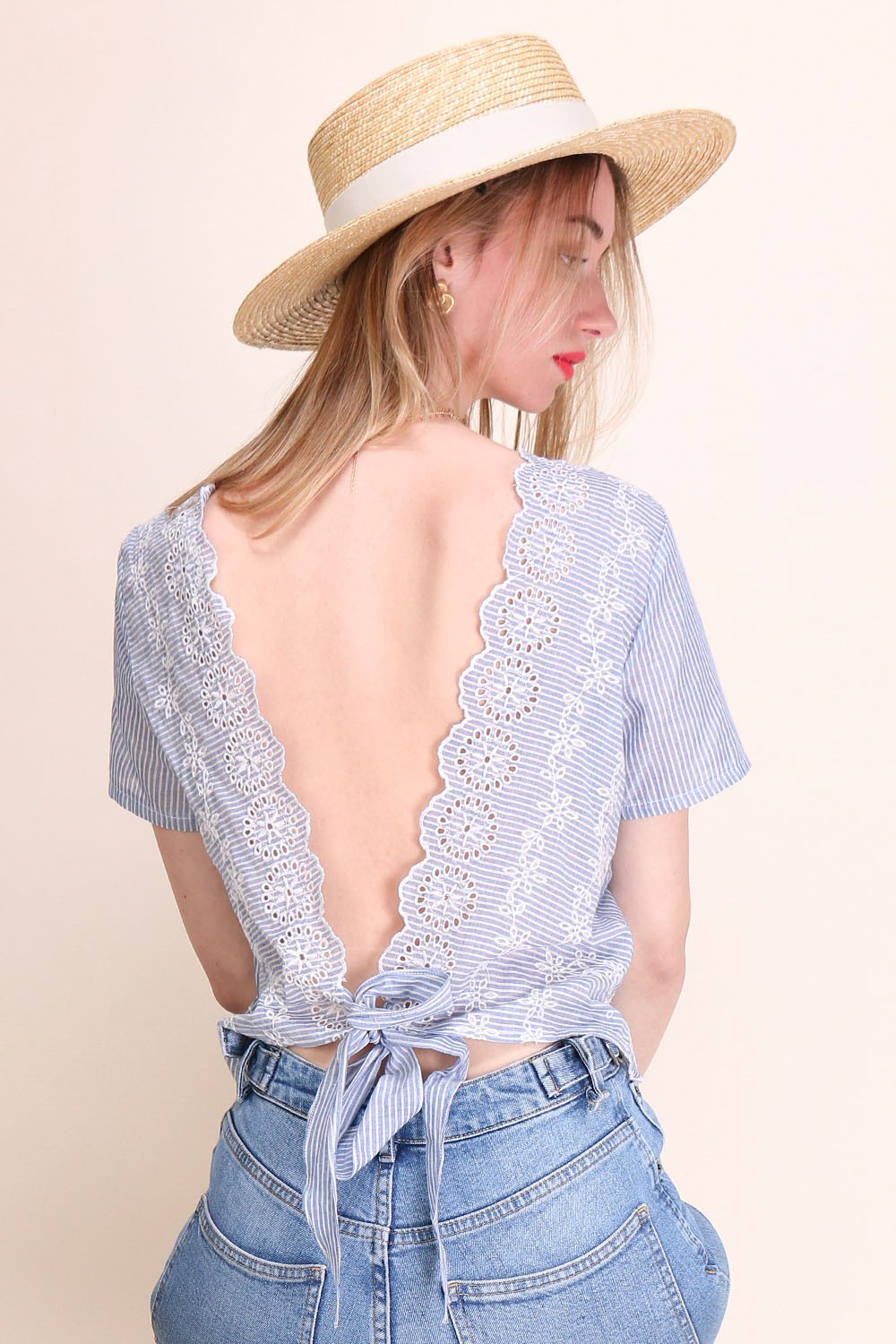 """Bluse Embroidered Open Back """"Melissa"""""""