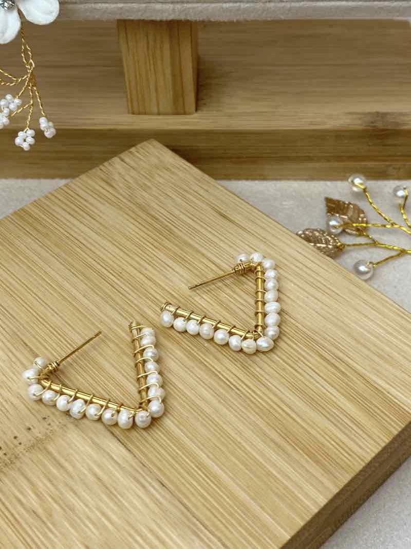 """Pearl Triangle Hoops """"Luna"""""""
