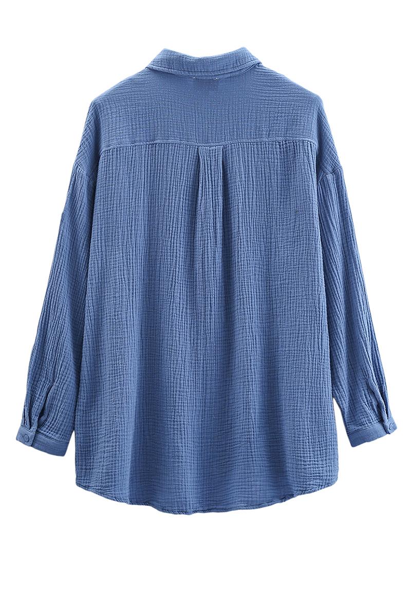 Oversized Hemd Bluse aus Baumwollmusselin