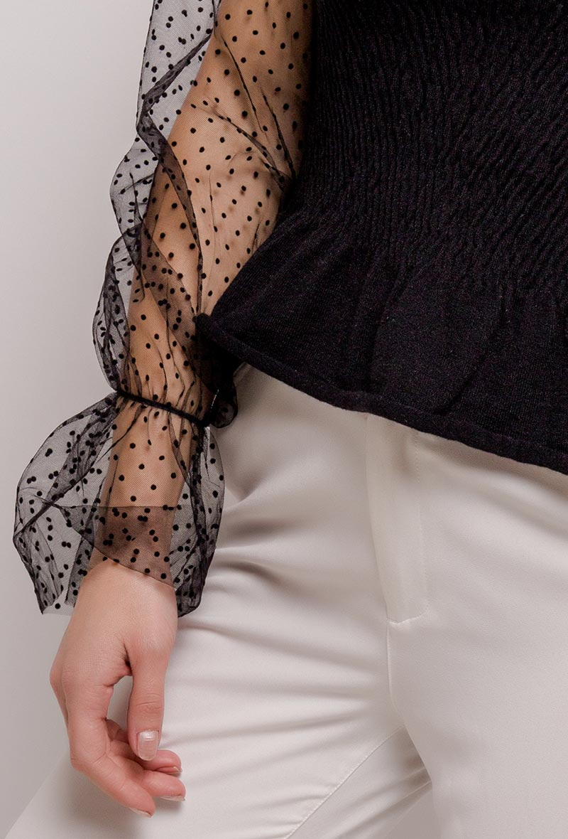 Smock Top Sheer Sleeves