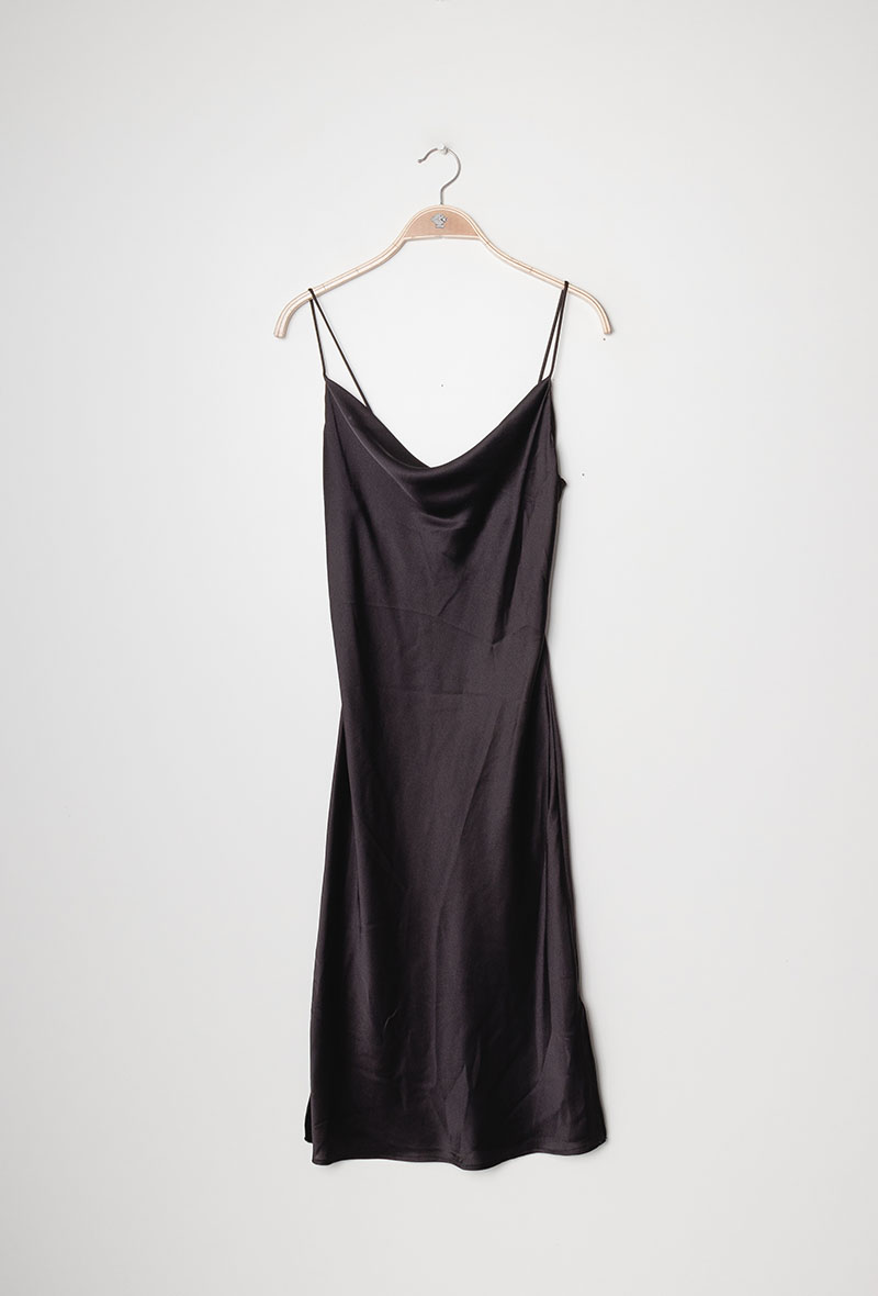 "Satin Dress Kleid ""Kendall Noir"""