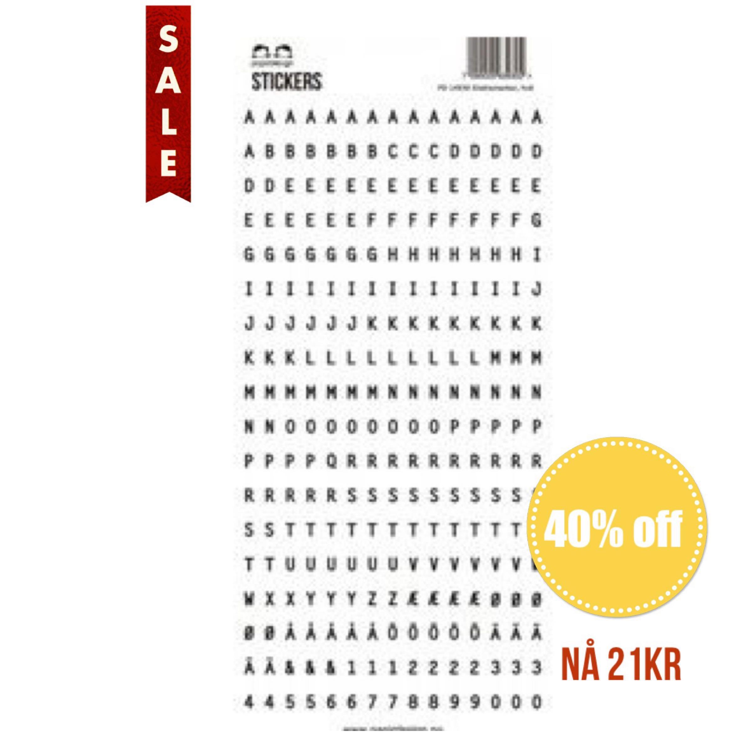 Papirdesign Alphabet Stickers / Klistremerker Alfabet - Hvit / White