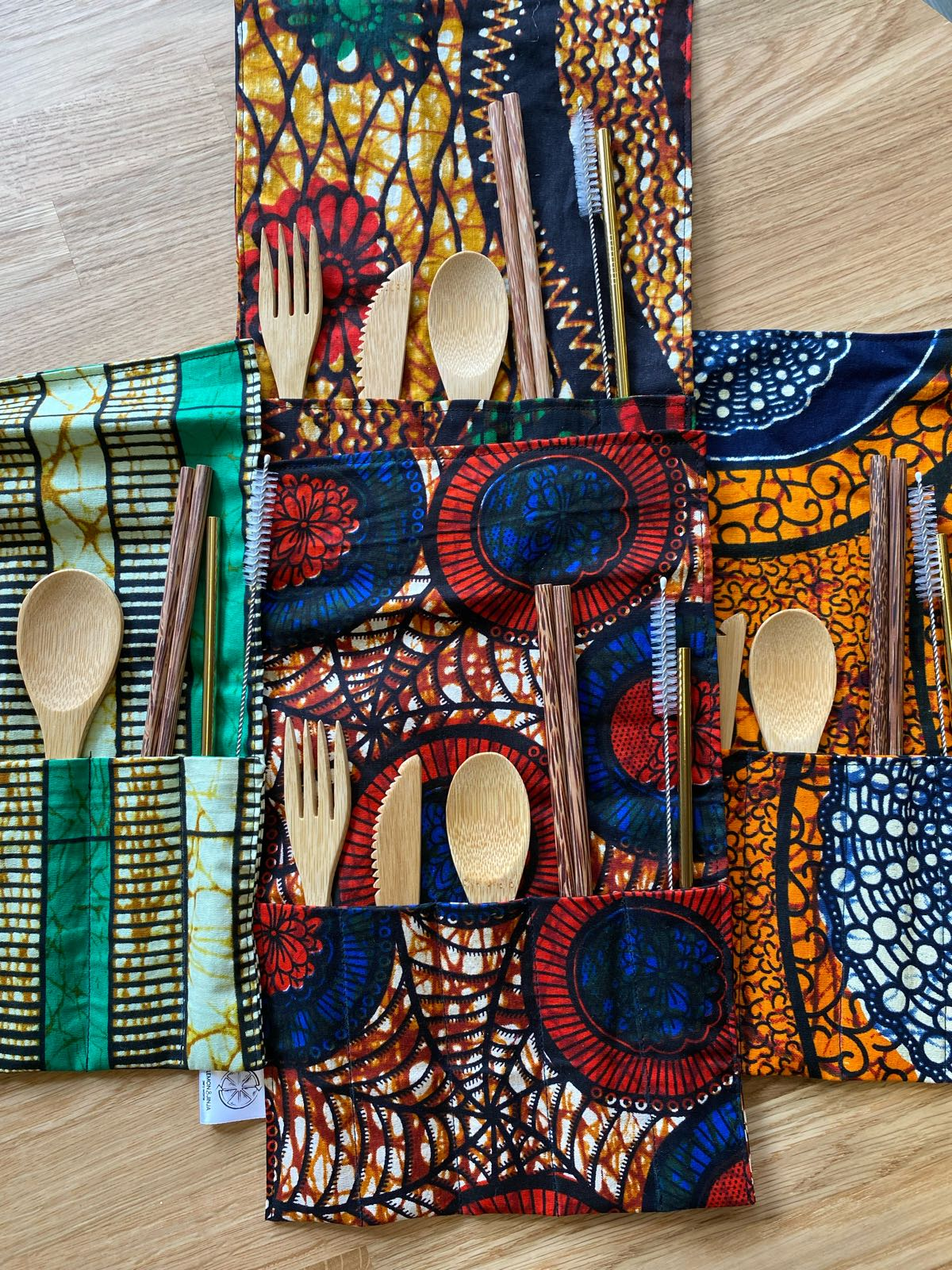 Cutlery Wrap: Full Set with Kitenge Wrap