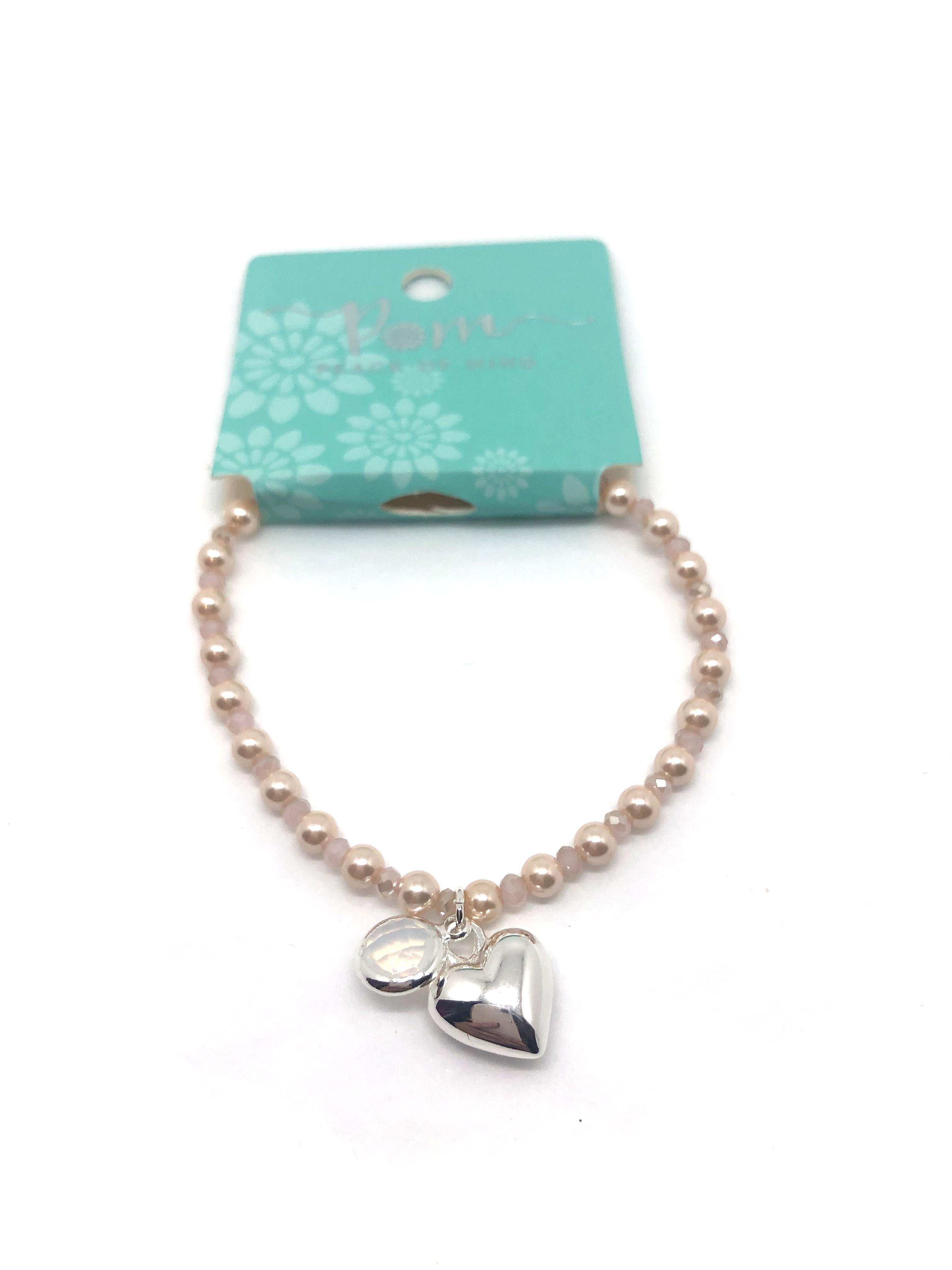 Bracelet (Pom) Silver Heart & Crystal on Pink Pearl