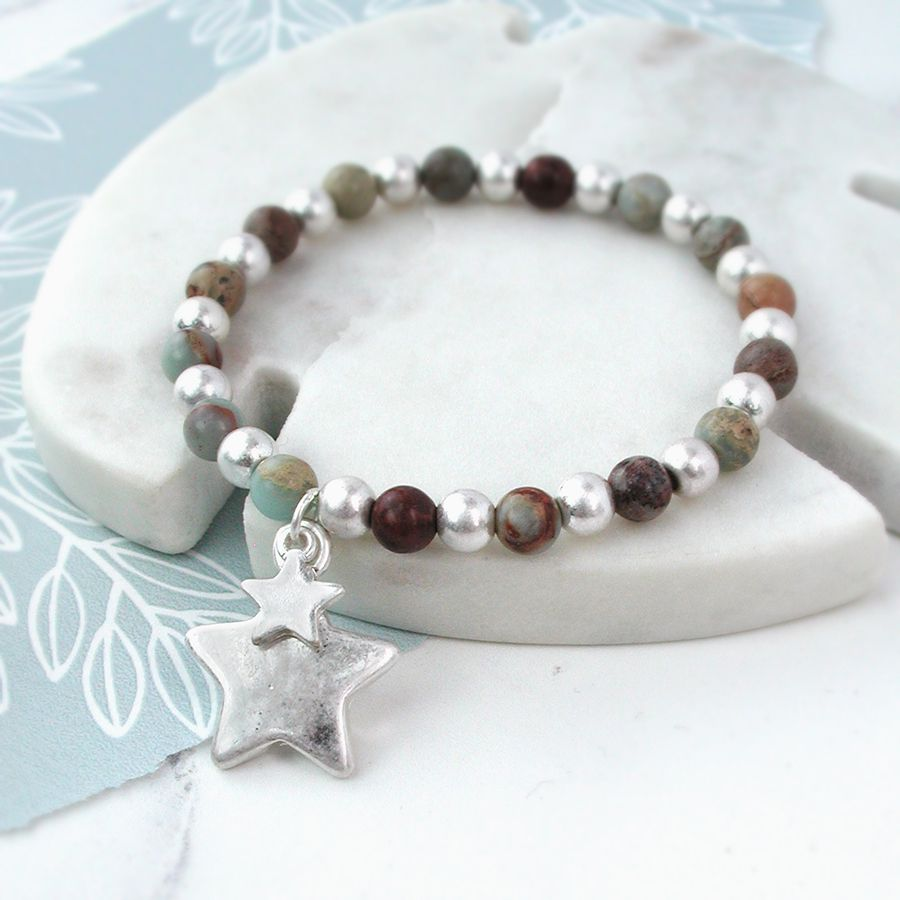 Bracelet Silver Plated Double Star Beaded