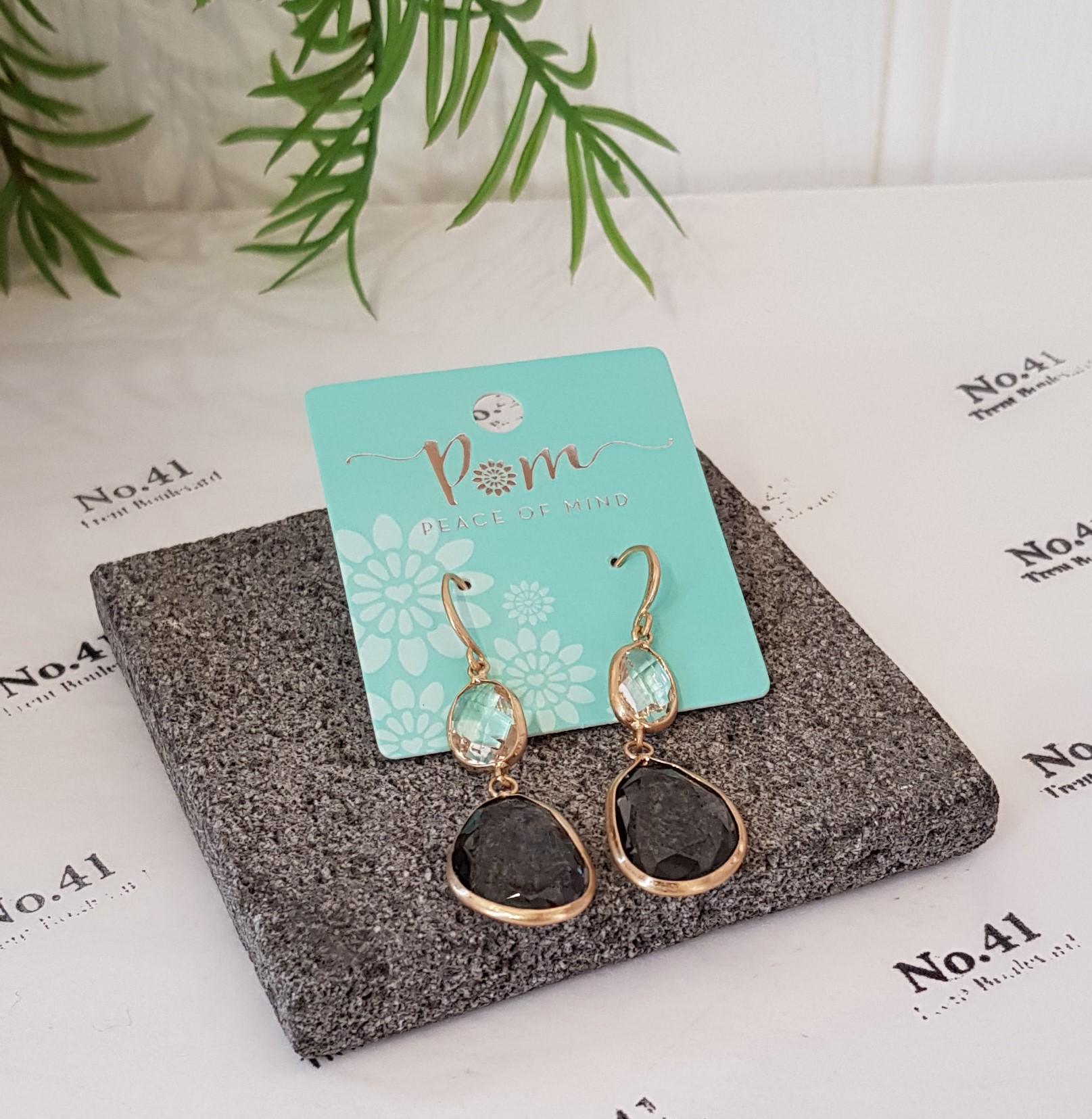 Earrings Gold Plated With Grey Crystals