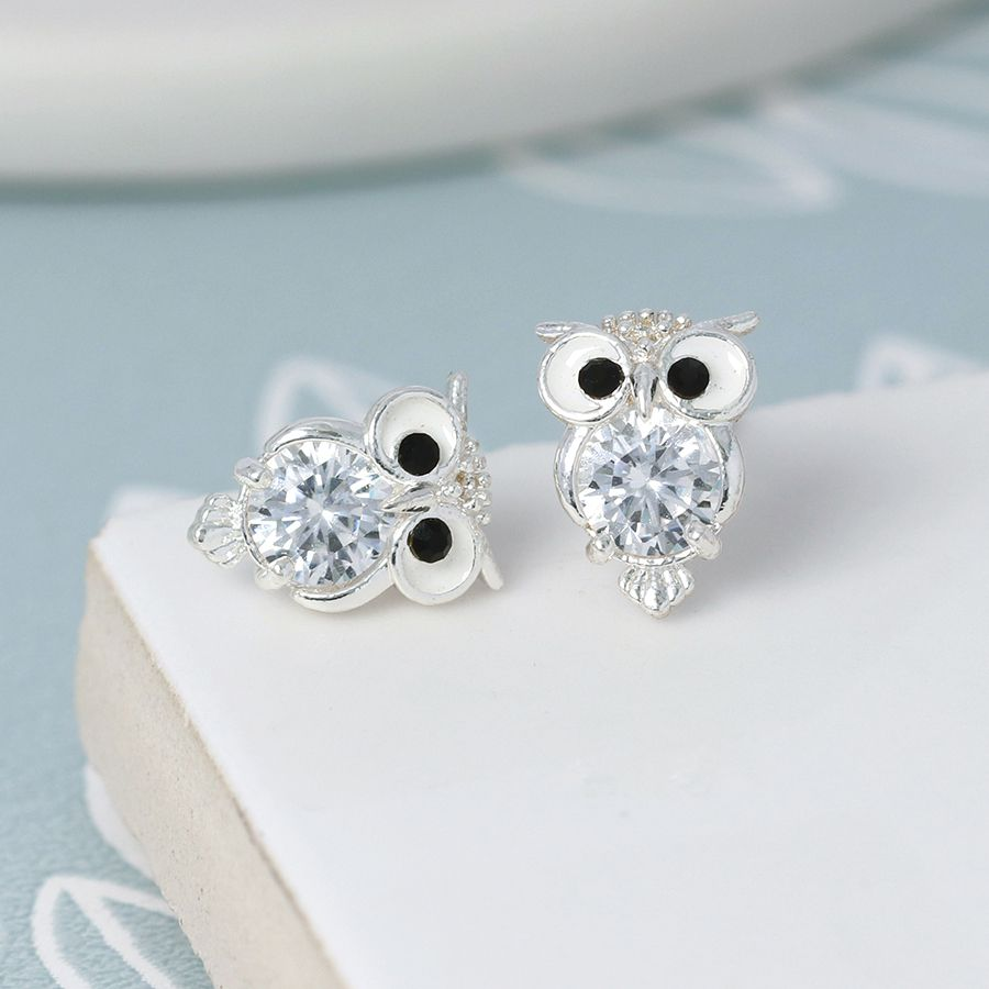 Earrings Silver Plated Crystal Owl Studs