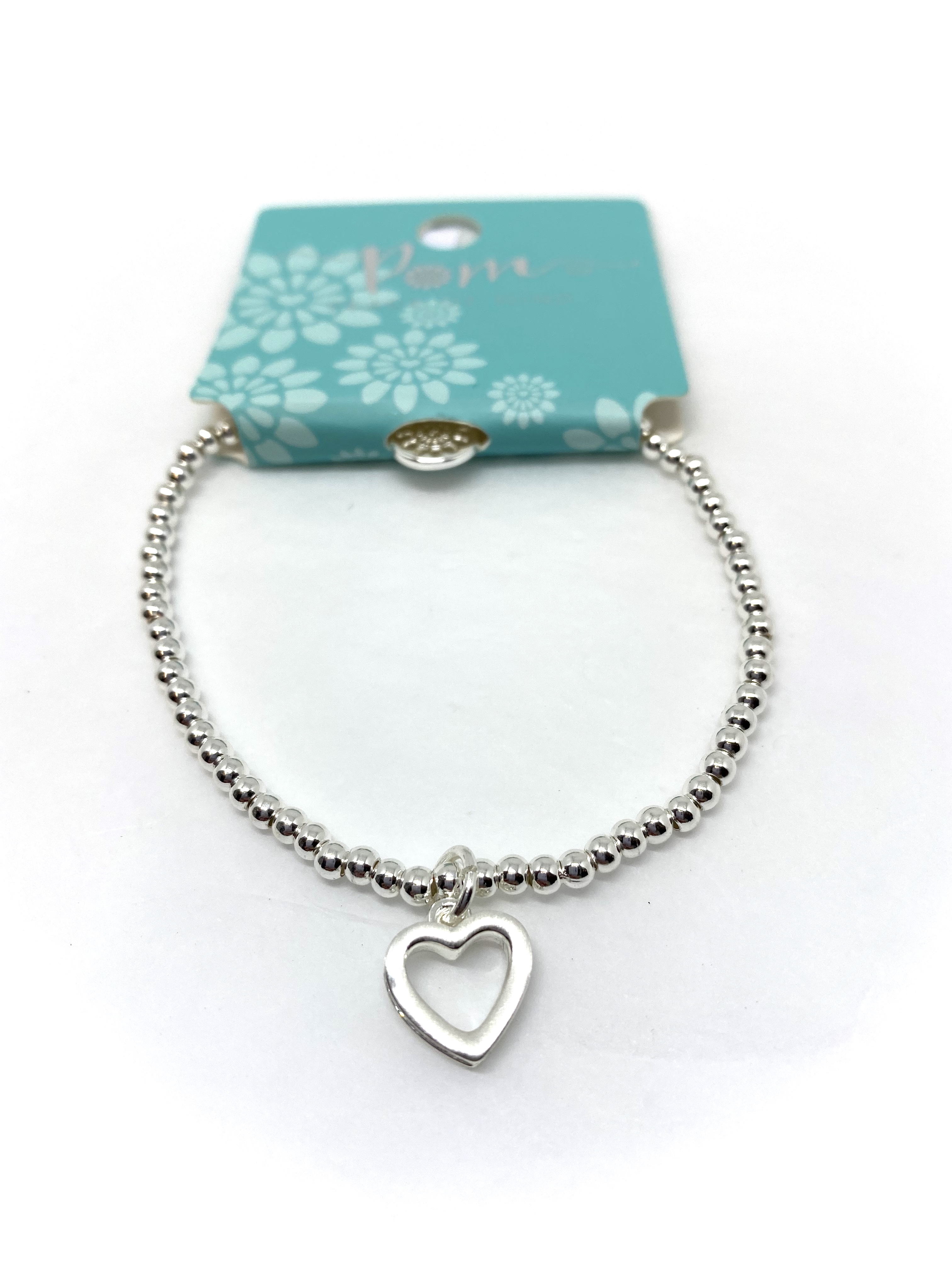 Small Open Heart with Tiny Inset Crystals Bracelet