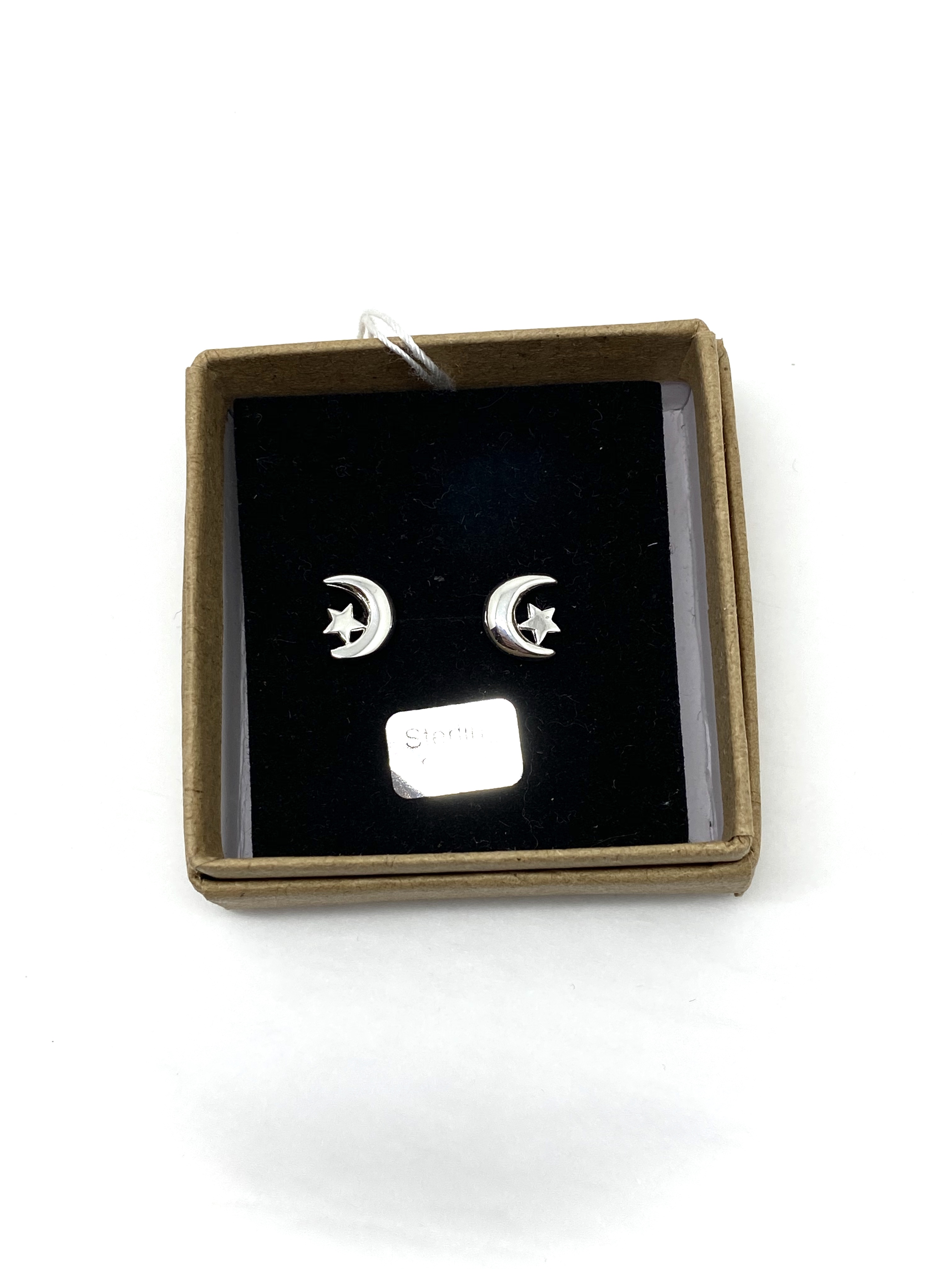 Boxed Silver Moon & Star Studs
