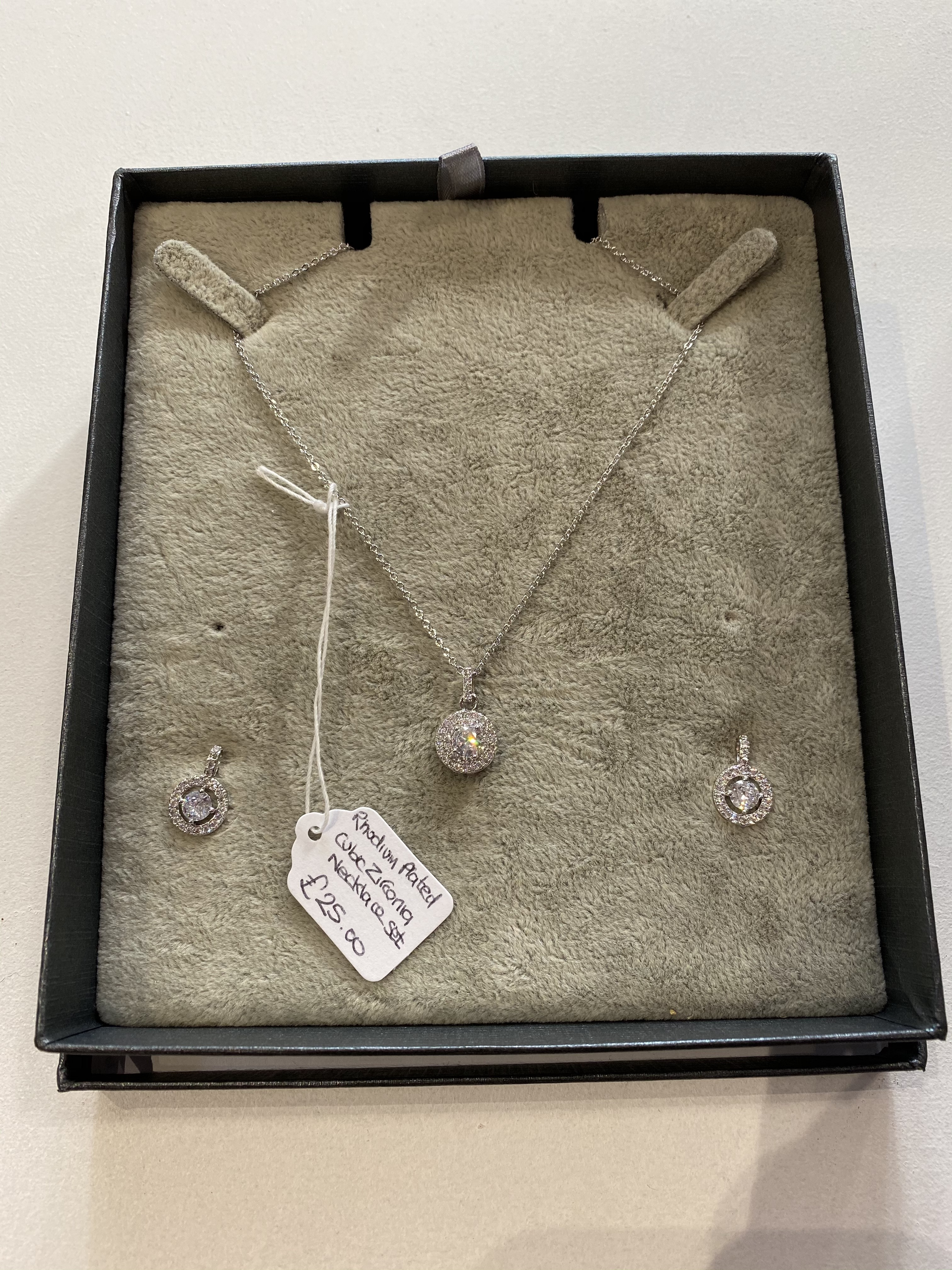 Necklace & Earring Set Rhodium Plated Cubic Zirconia