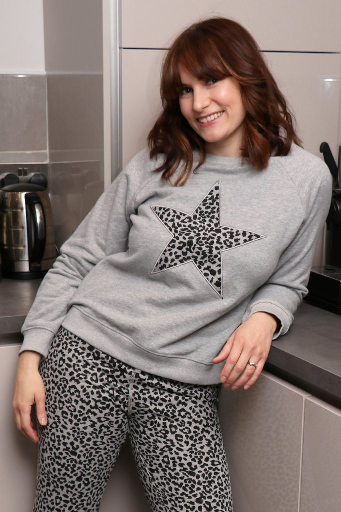 Grey Animal Print Star Sweatshirt