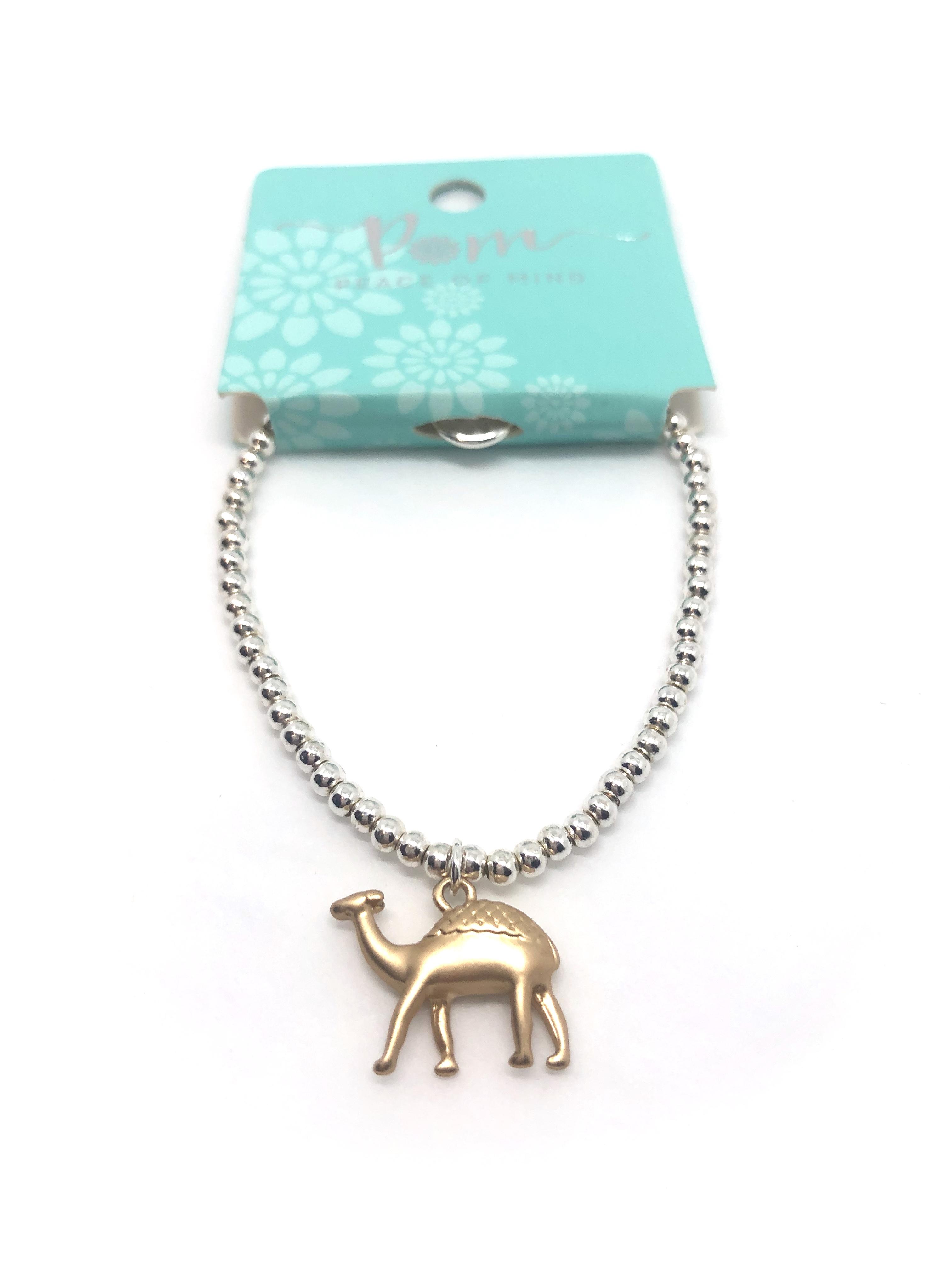 Bracelet (Pom) Silver With Gold Camel Charm