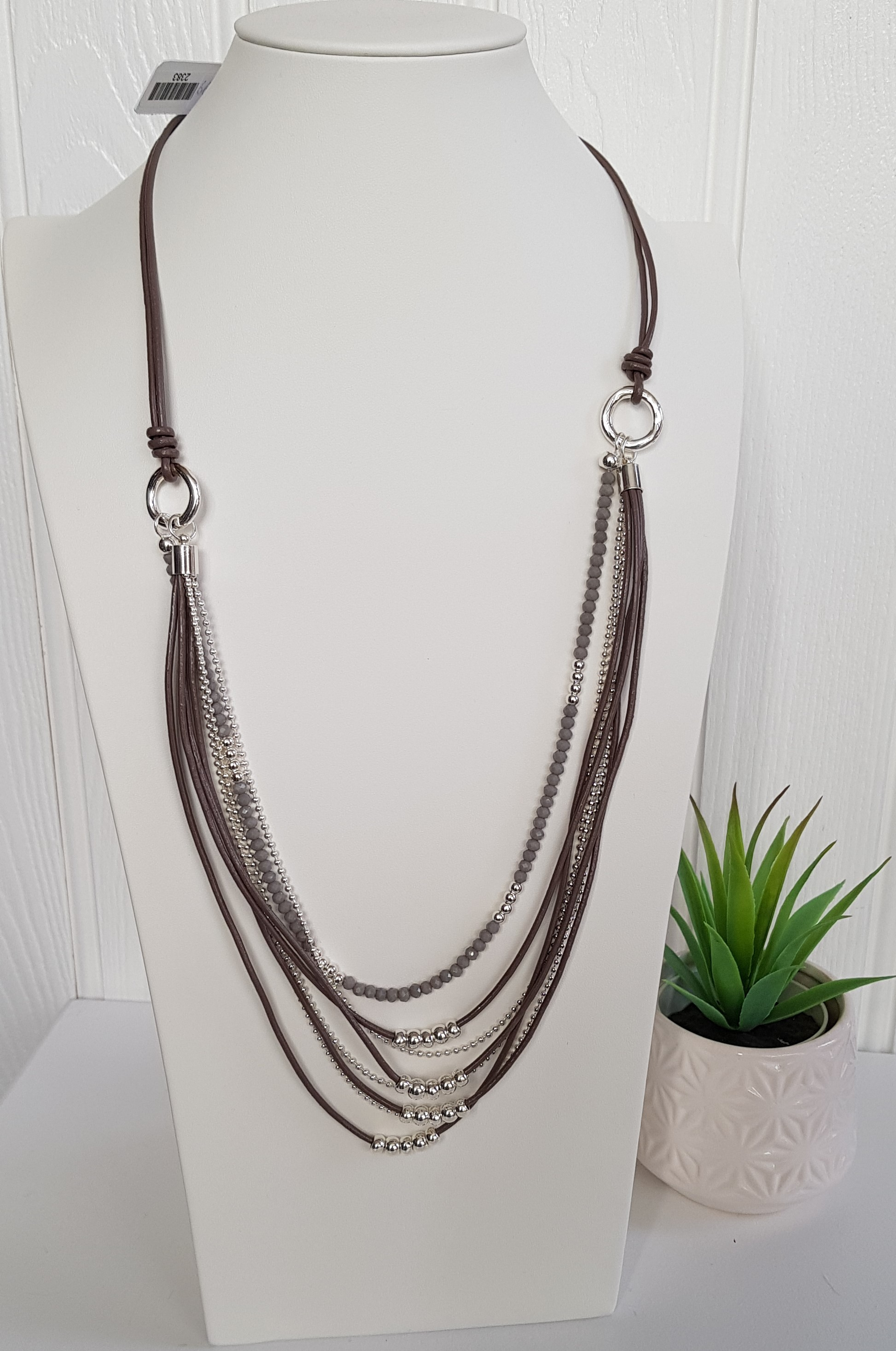 Necklace Long Leather Multi Strands With Beads