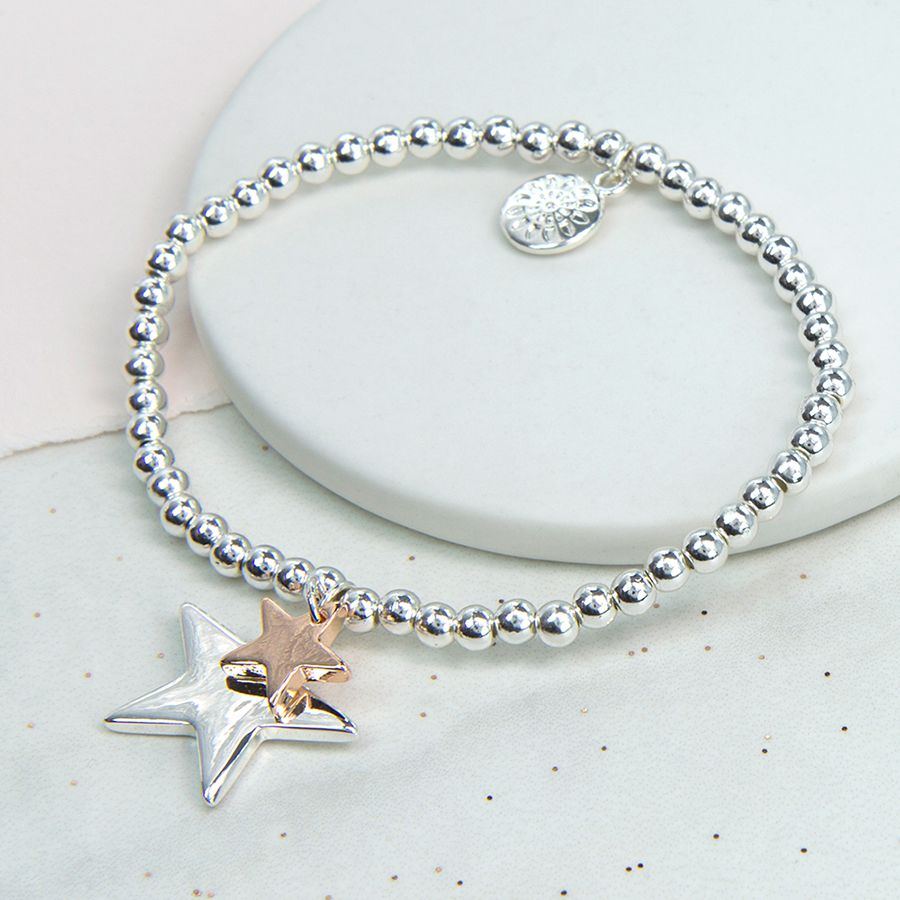 Bracelet Silver Plated Double Star