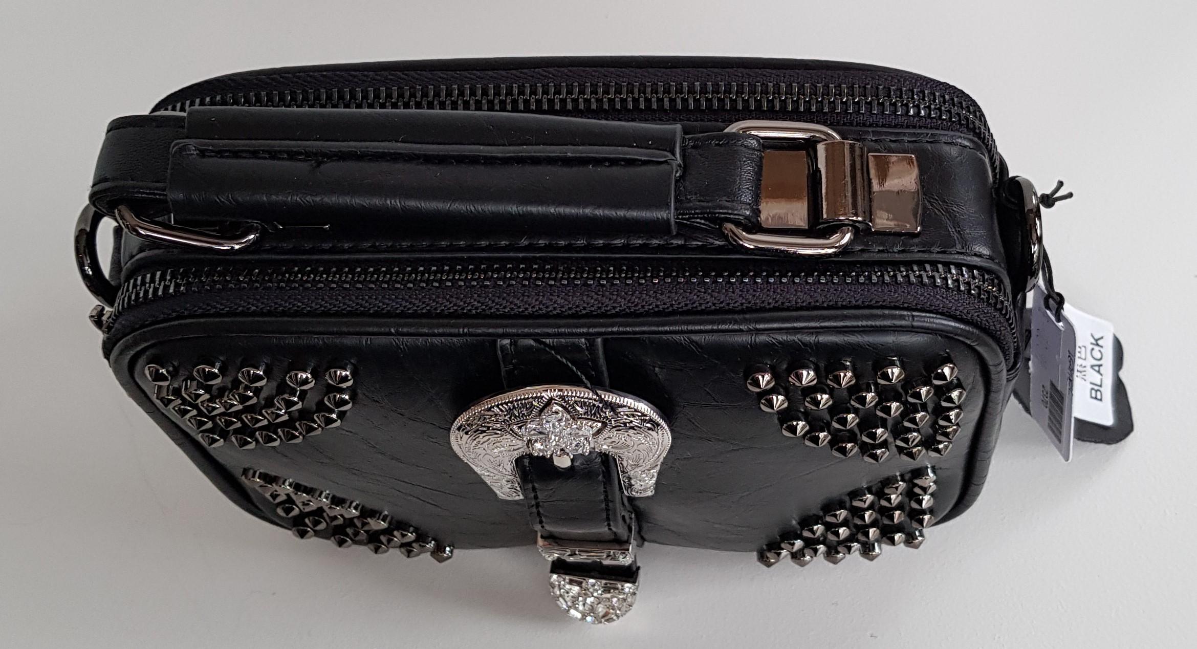 Bag - Black Leather Studded Shoulder Square Shaped