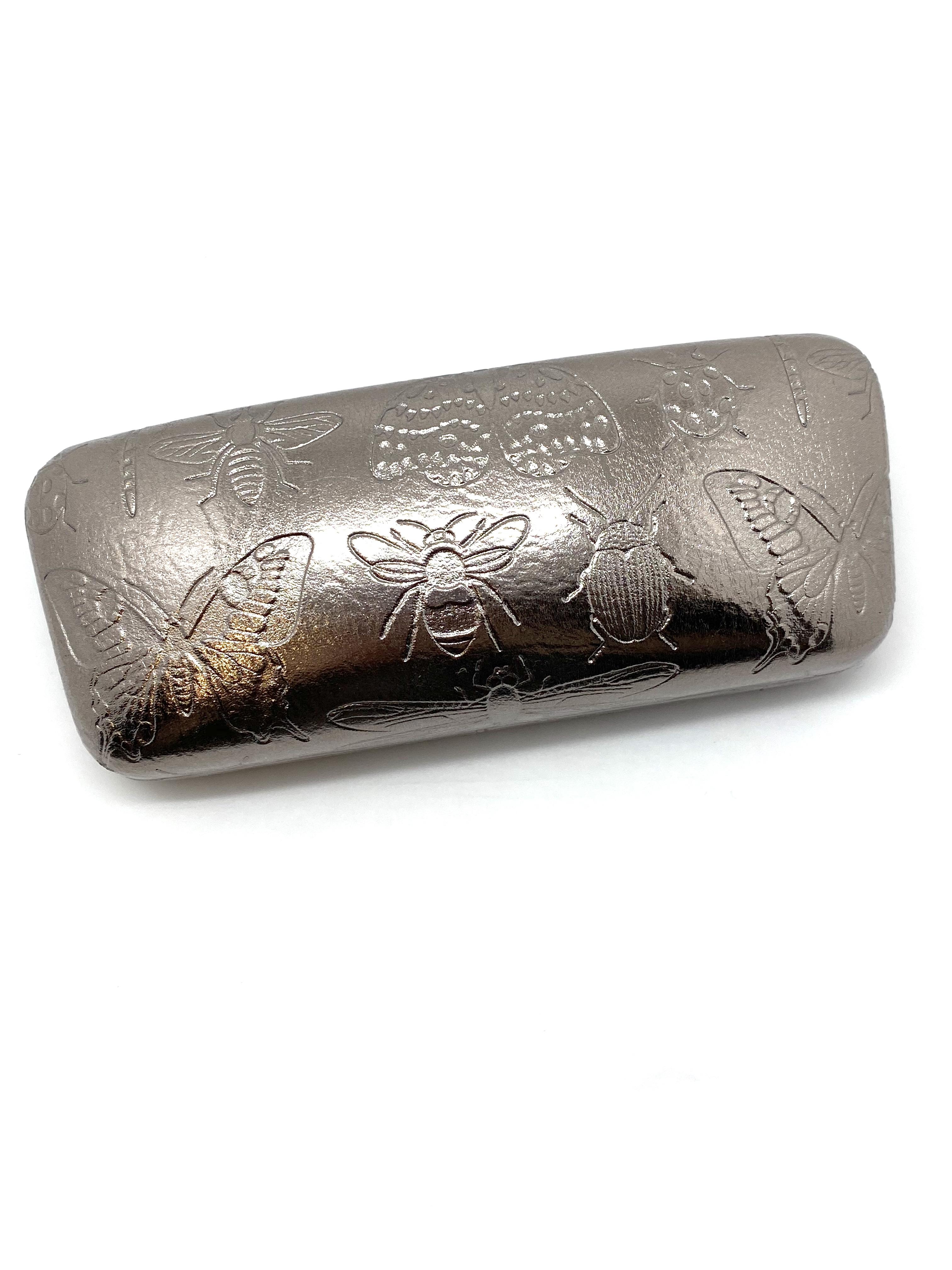 Metallic Silver Glasses Case